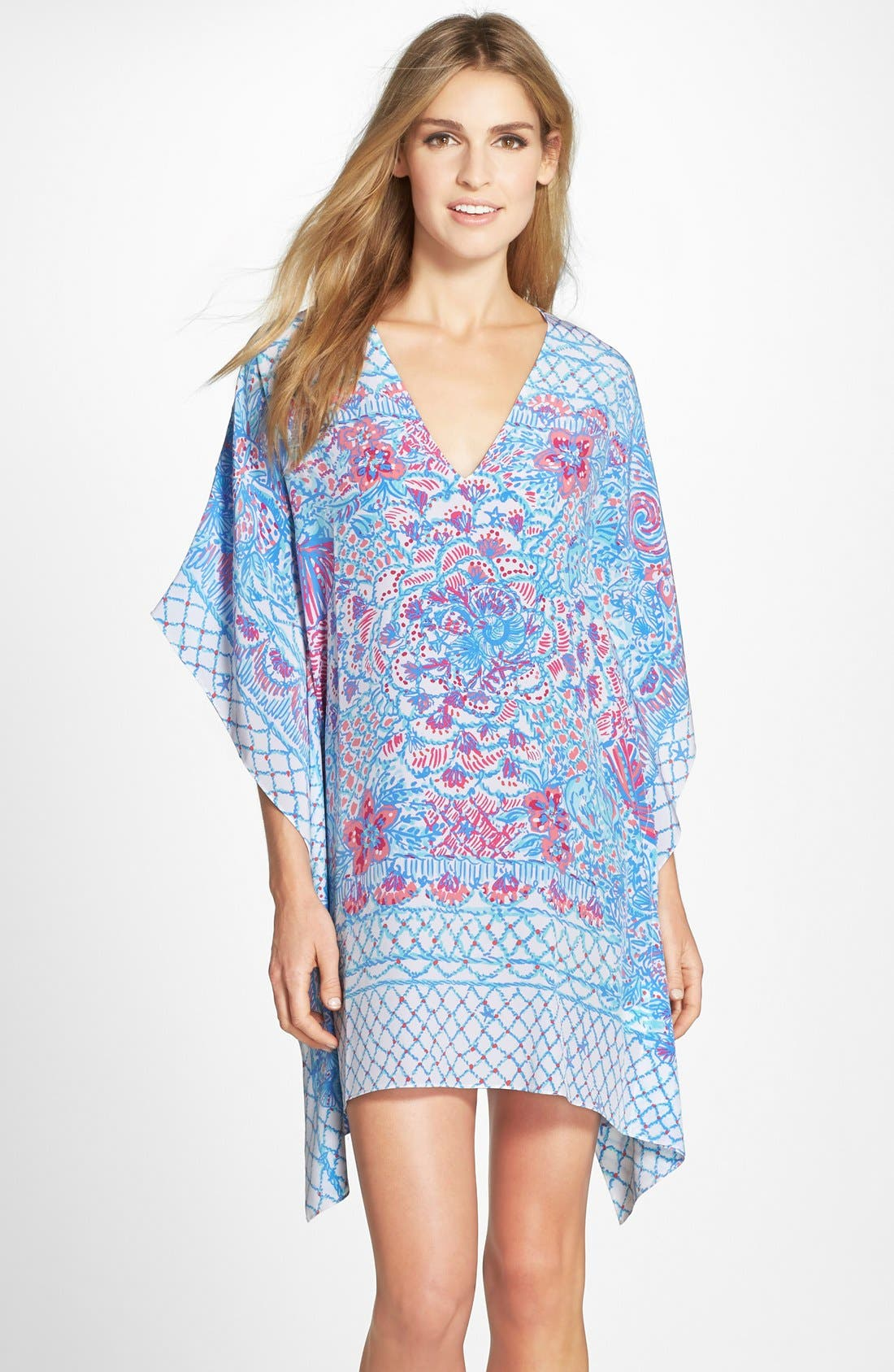 LILLY PULITZER<SUP>®</SUP> 'Lindamarie' Print Silk Caftan Dress, Main, color, 415