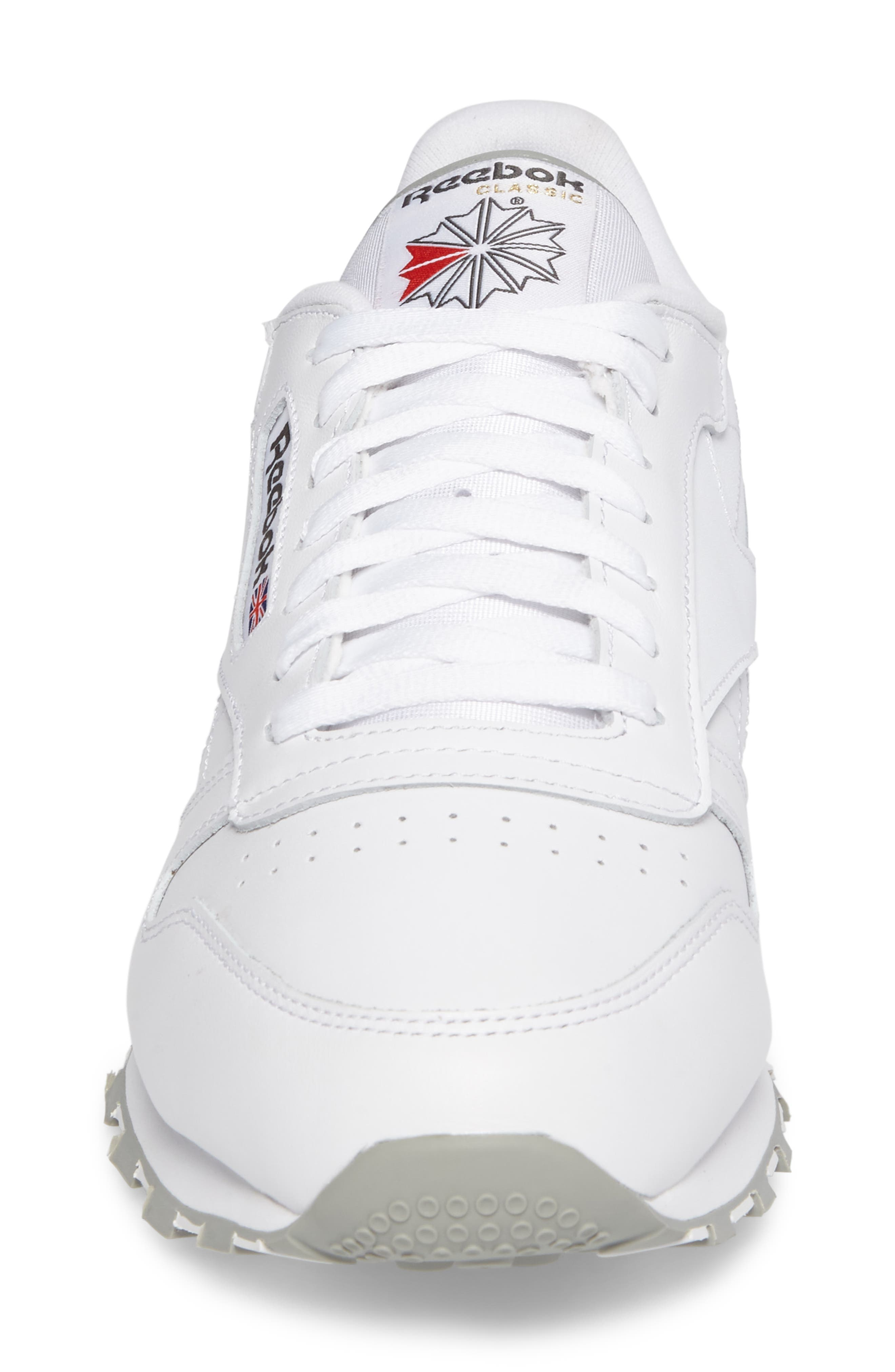 Classic Leather Sneaker,                             Alternate thumbnail 4, color,                             WHITE