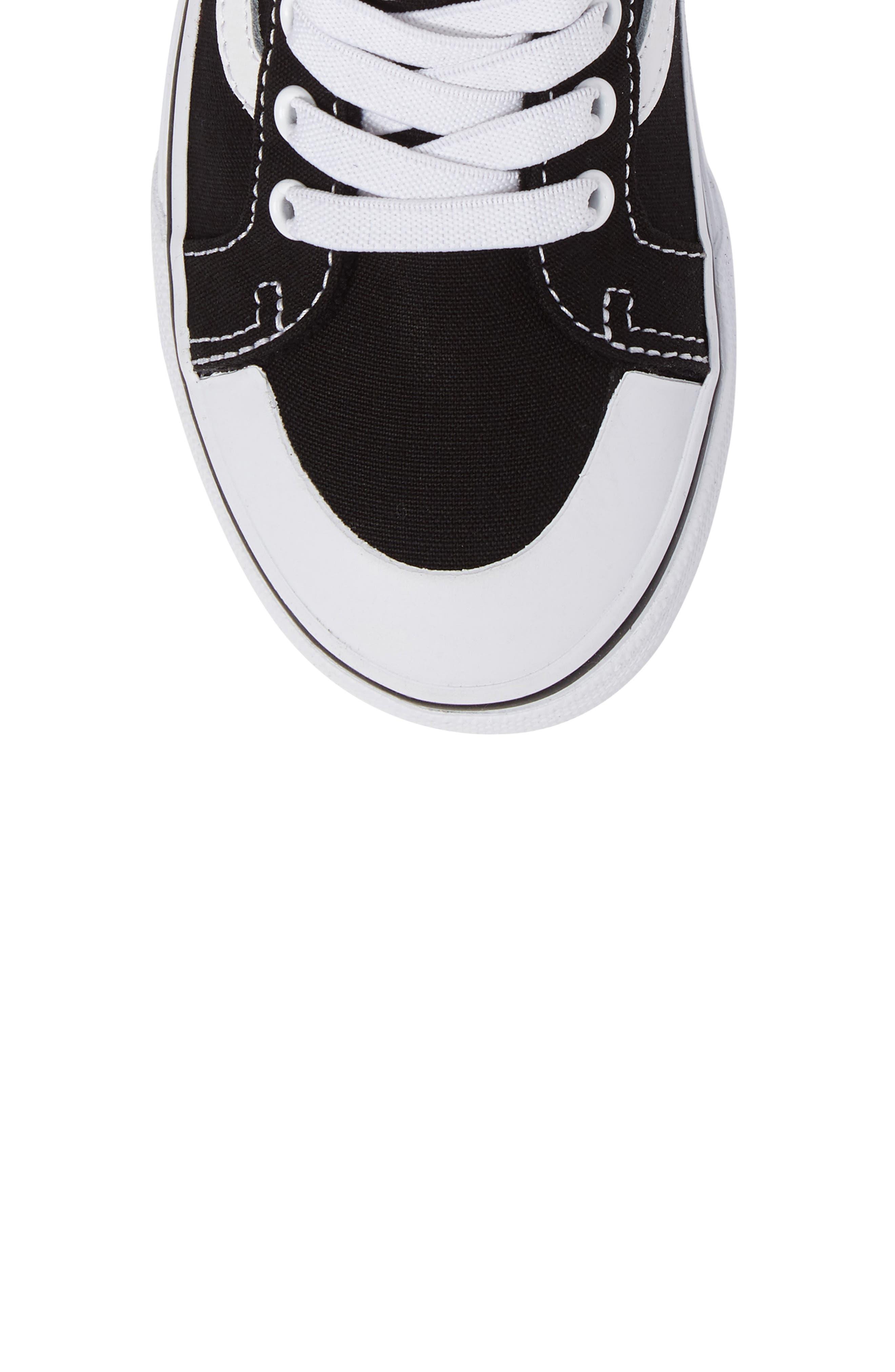 Racer Mid Elastic Lace Sneaker,                             Alternate thumbnail 5, color,                             BLACK/ TRUE WHITE CANVAS