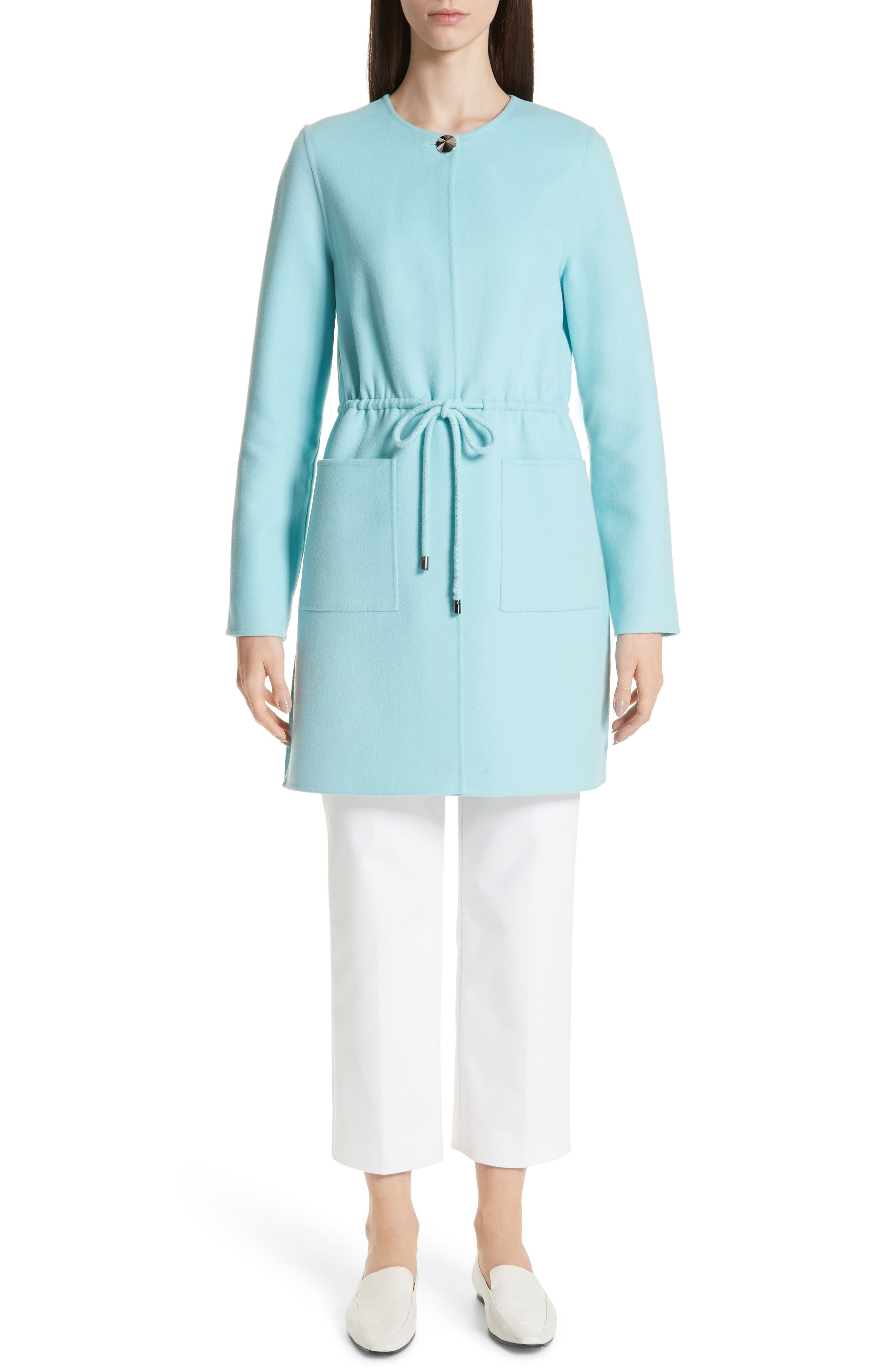 ST. JOHN COLLECTION,                             Double Face Wool & Cashmere Jacket,                             Alternate thumbnail 8, color,                             AQUAMARINE