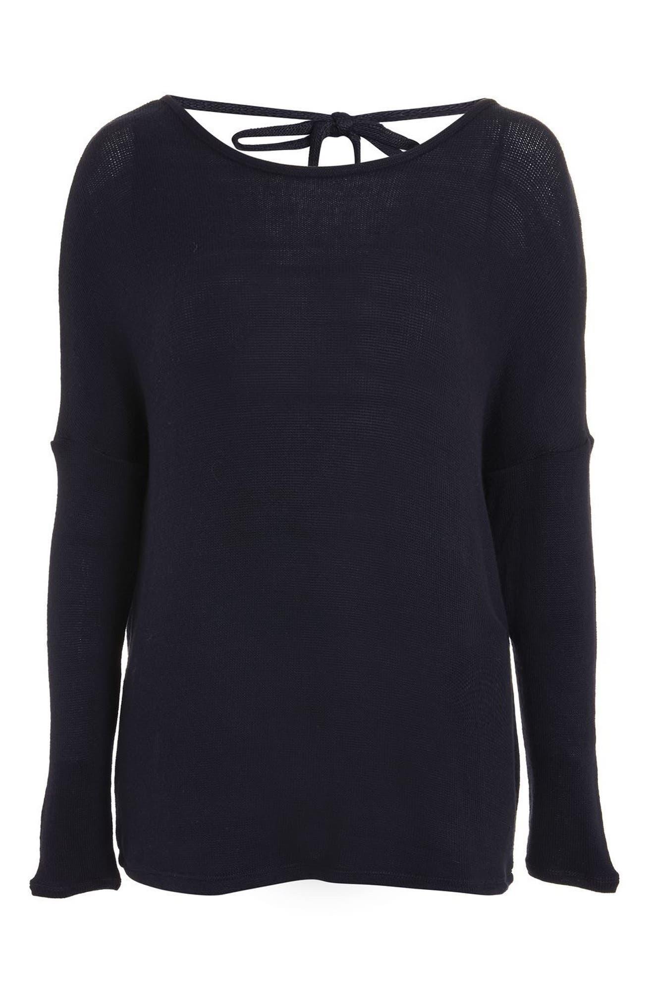 Drop Shoulder Tie Back Sweater,                             Alternate thumbnail 12, color,