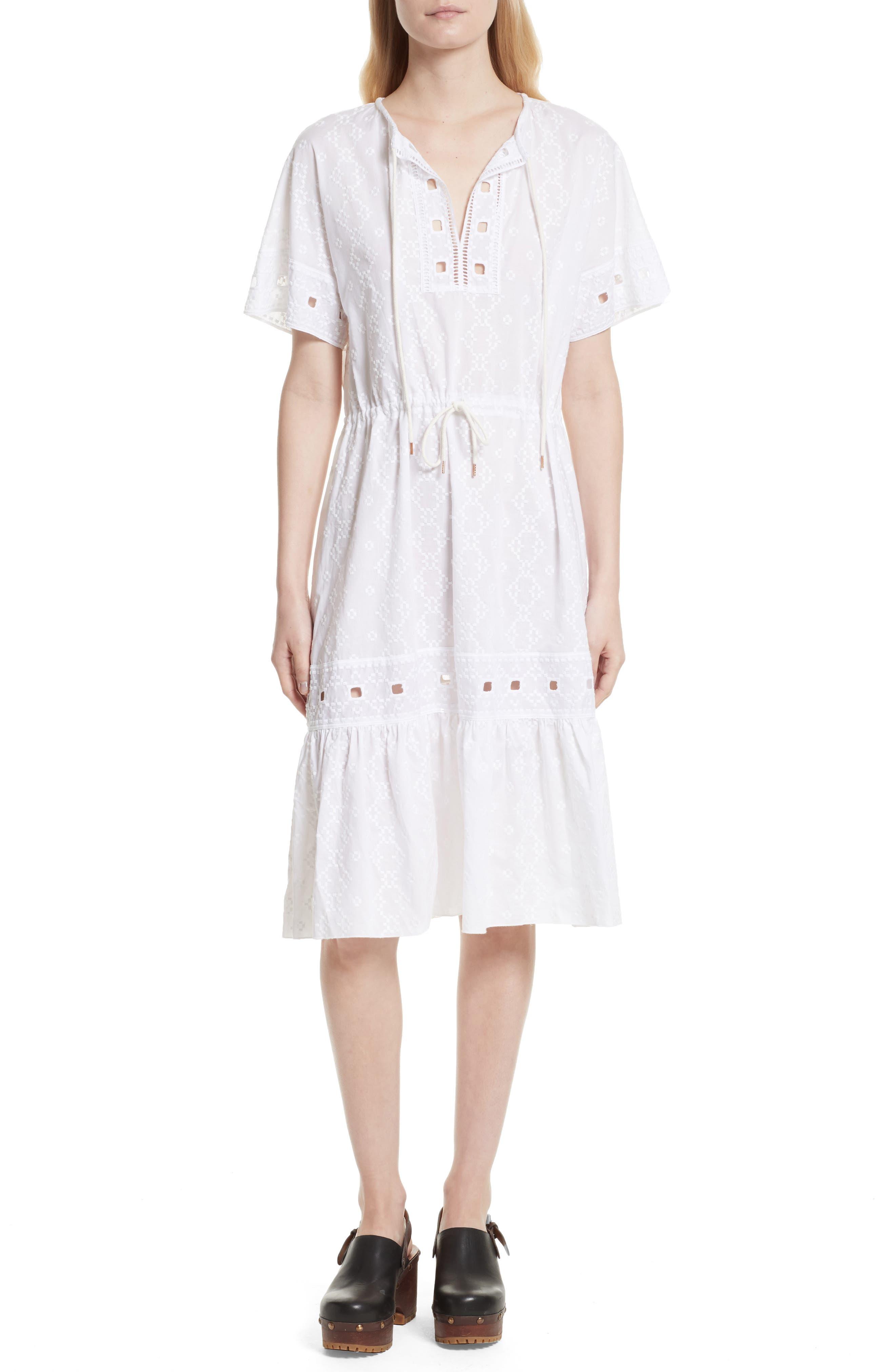 Cotton Eyelet Dress,                             Main thumbnail 1, color,                             101