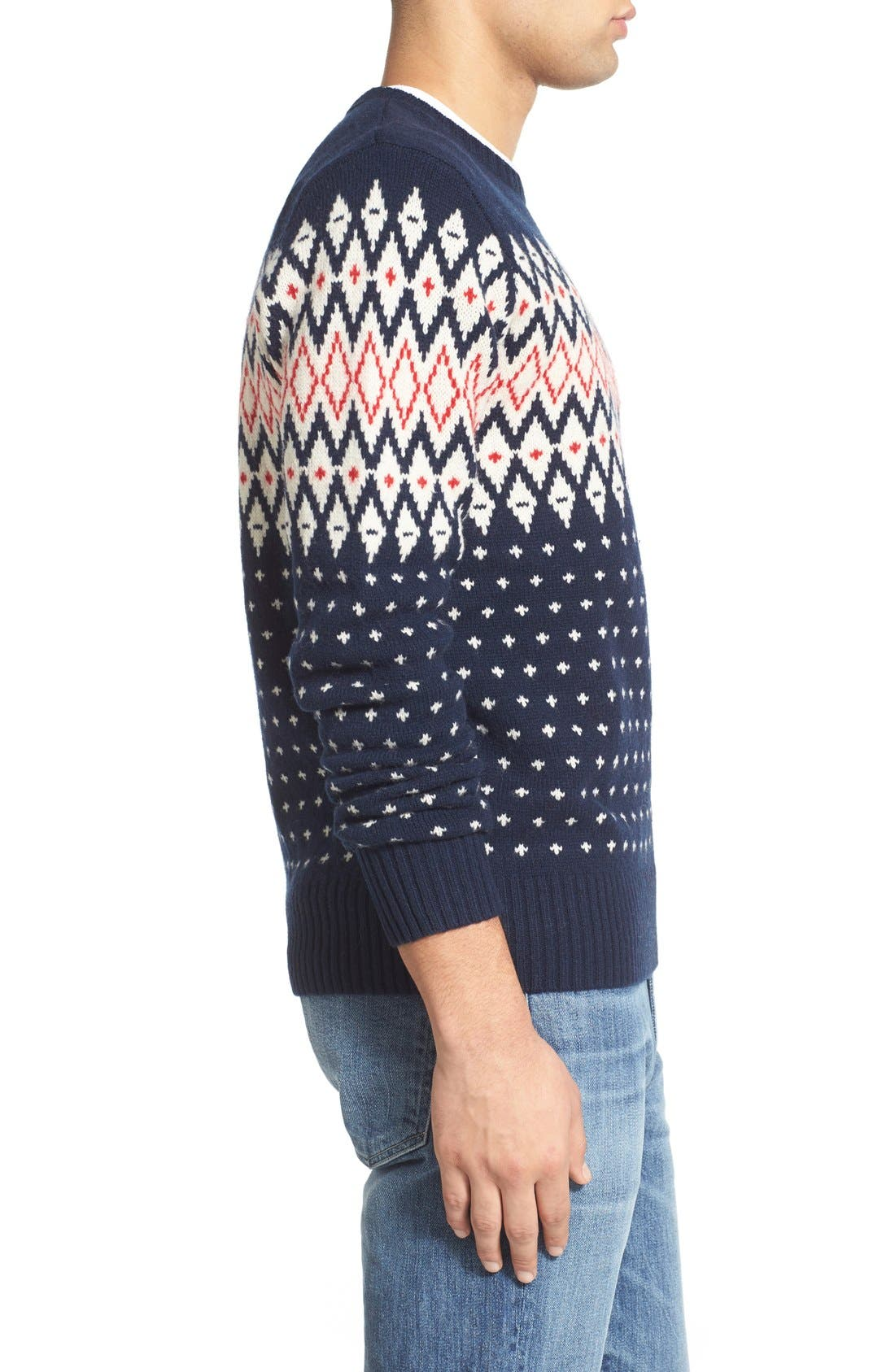 Lambswool Fair Isle Crewneck Sweater,                             Alternate thumbnail 2, color,