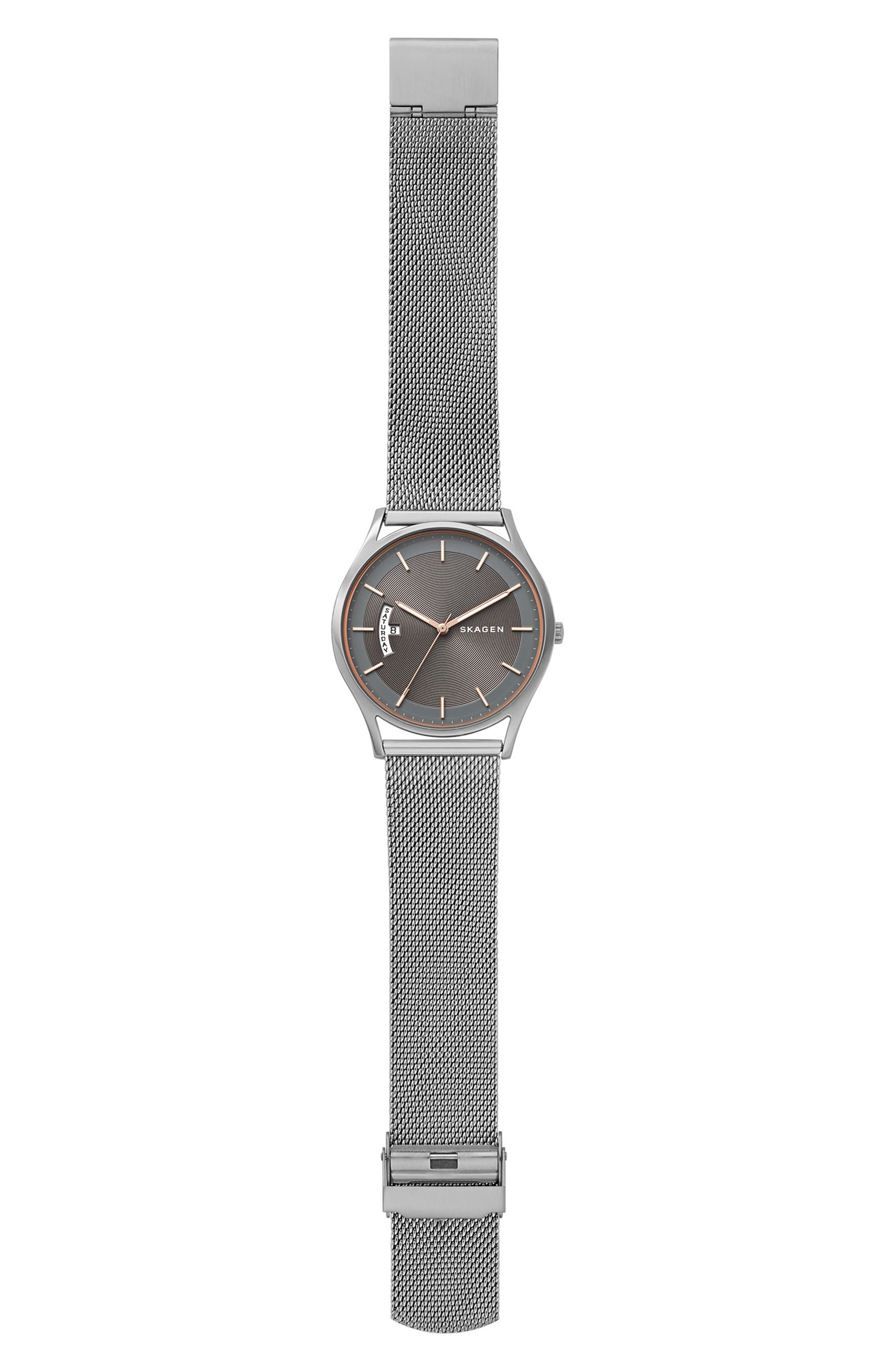 Holst Mesh Strap Watch, 40mm,                             Alternate thumbnail 3, color,                             SILVER/ GREY/ SILVER