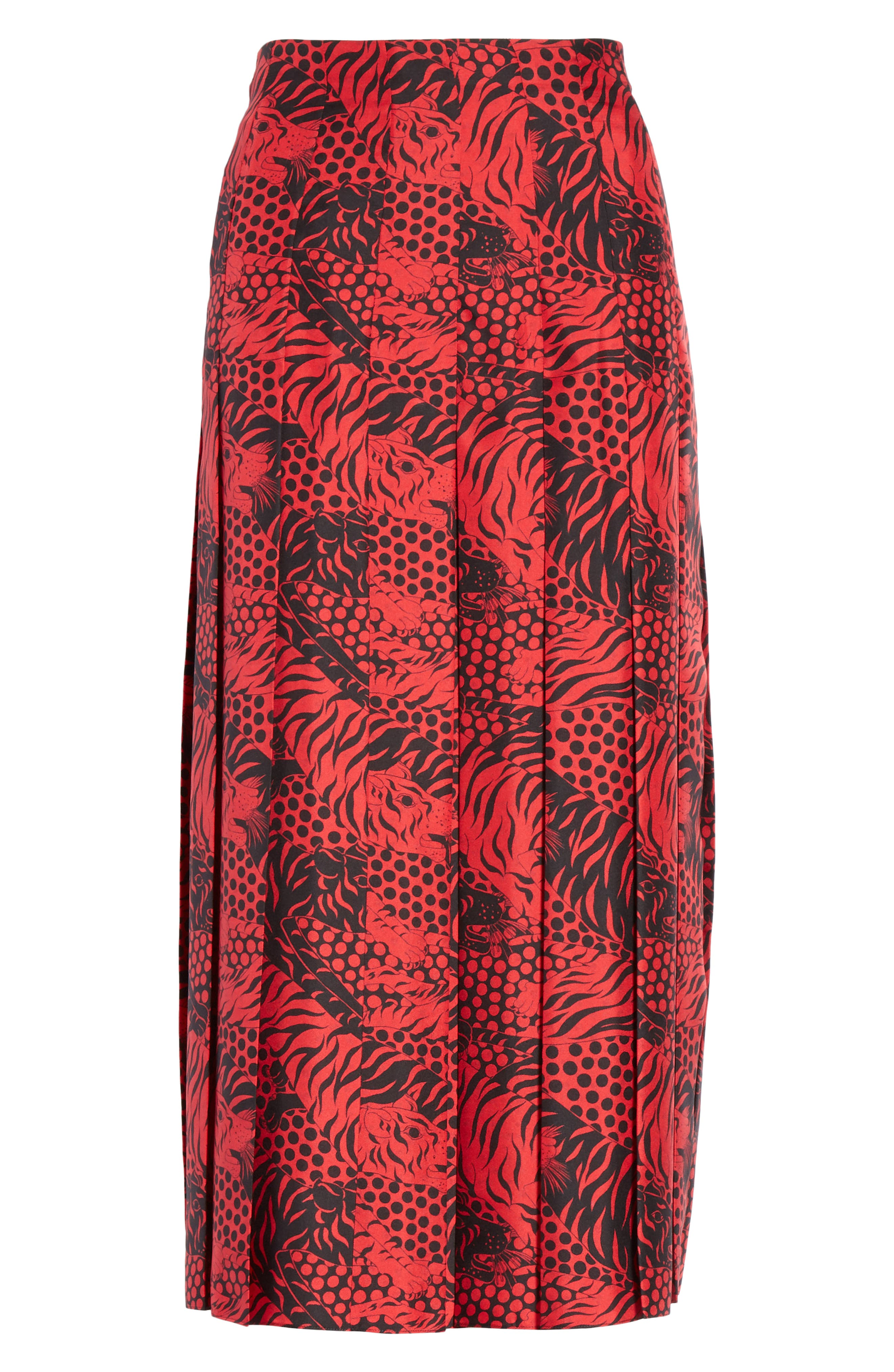 Tiger Print Pleated Silk Skirt,                             Alternate thumbnail 3, color,                             RED