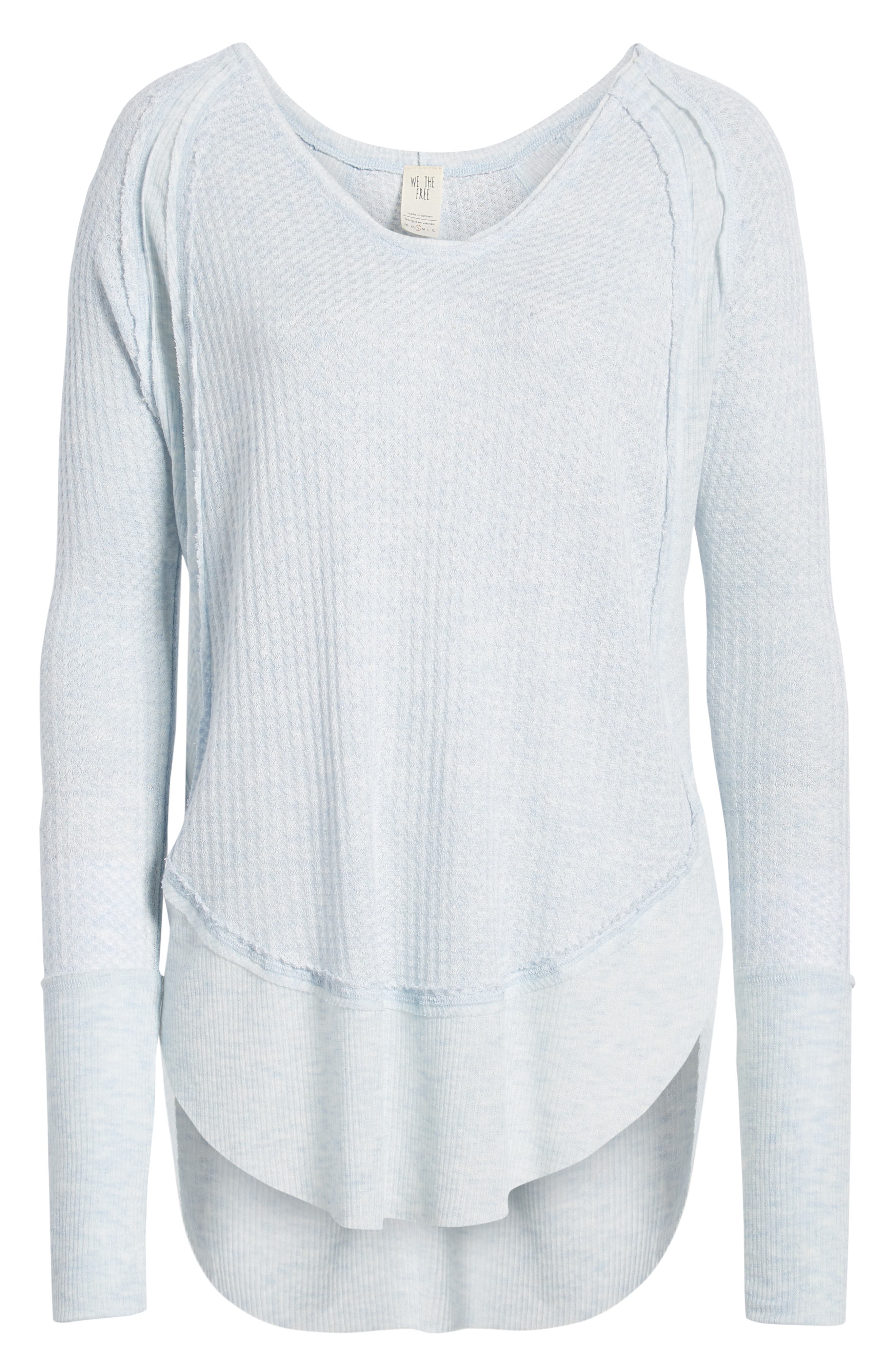 FREE PEOPLE,                             We the Free by Free People Catalina V-Neck Thermal Top,                             Alternate thumbnail 6, color,                             SKY