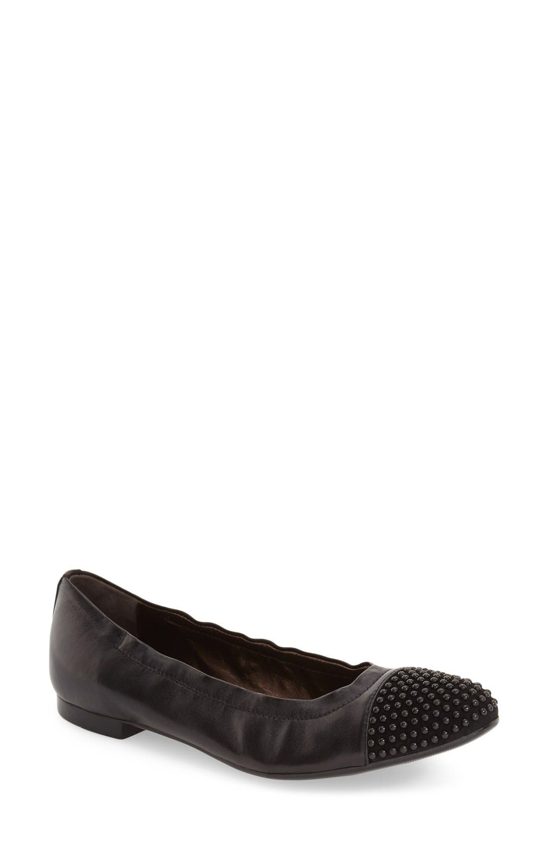'Blakely' Studded Cap Toe Ballet Flat,                         Main,                         color, 001