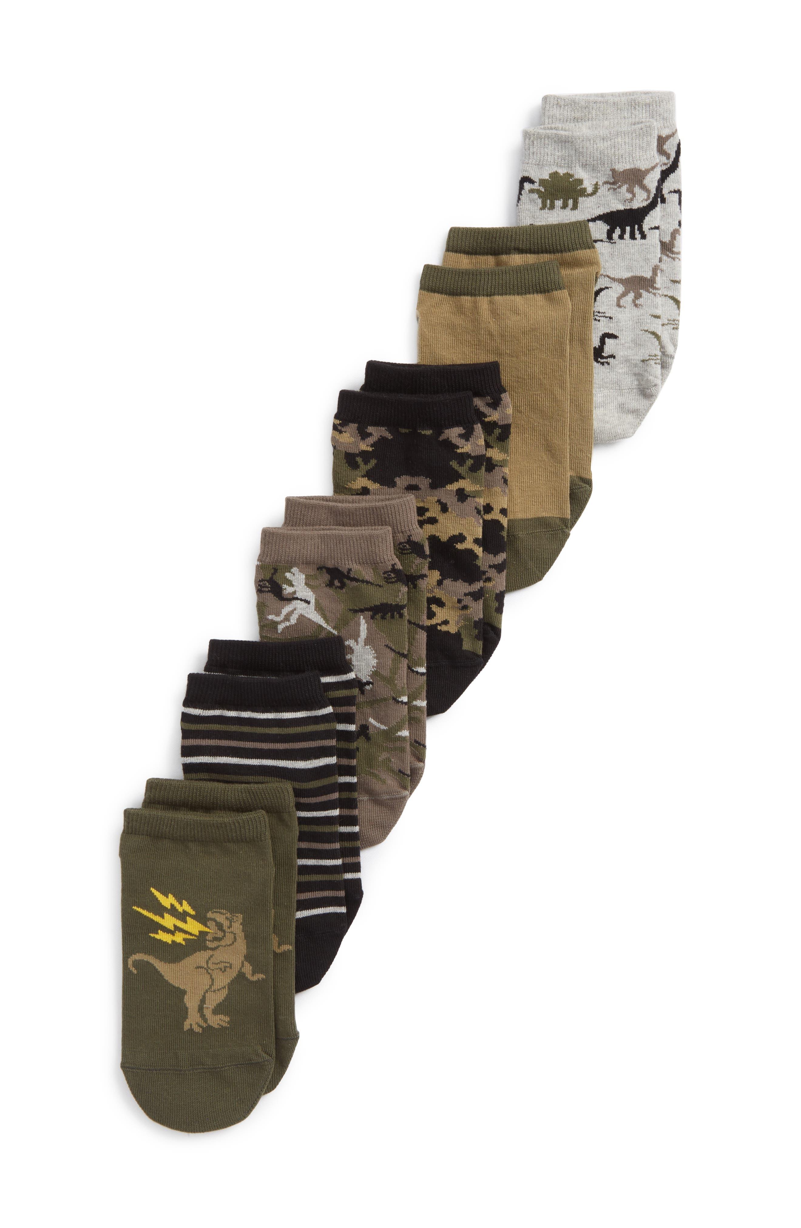 Dino 6-Pack Crew Socks,                             Main thumbnail 1, color,                             OLIVE SARMA
