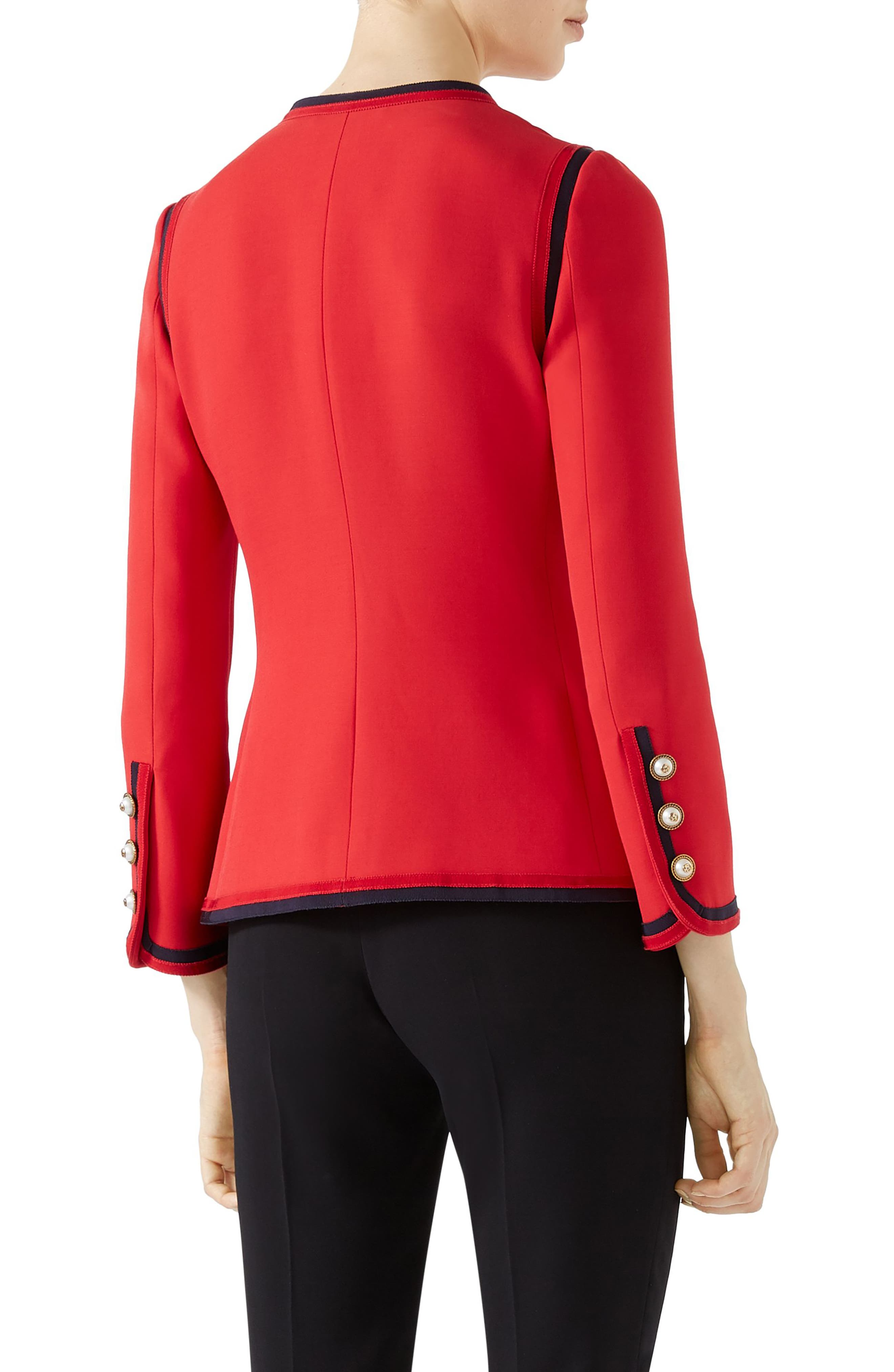 Silk & Wool Crepe Cady Jacket,                             Alternate thumbnail 2, color,                             BRIGHT RED