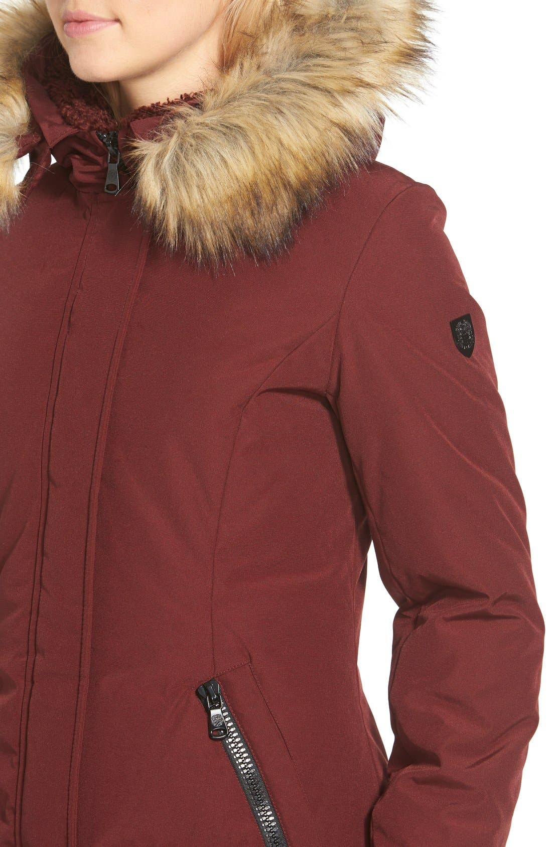 Down & Feather Fill Parka with Faux Fur Trim,                             Alternate thumbnail 28, color,