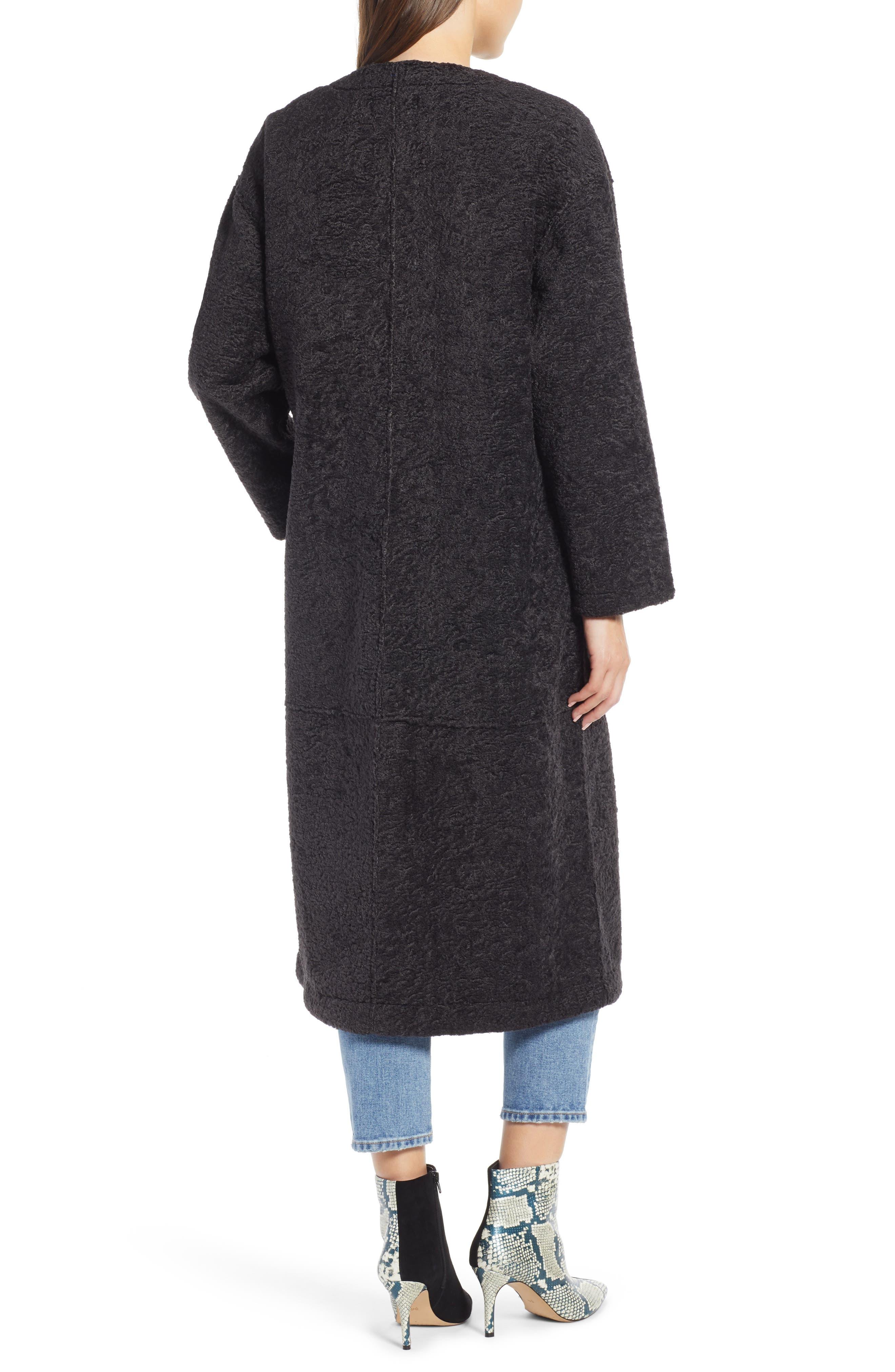 Long Faux Shearling Coat,                             Alternate thumbnail 2, color,                             GREY PHANTOM