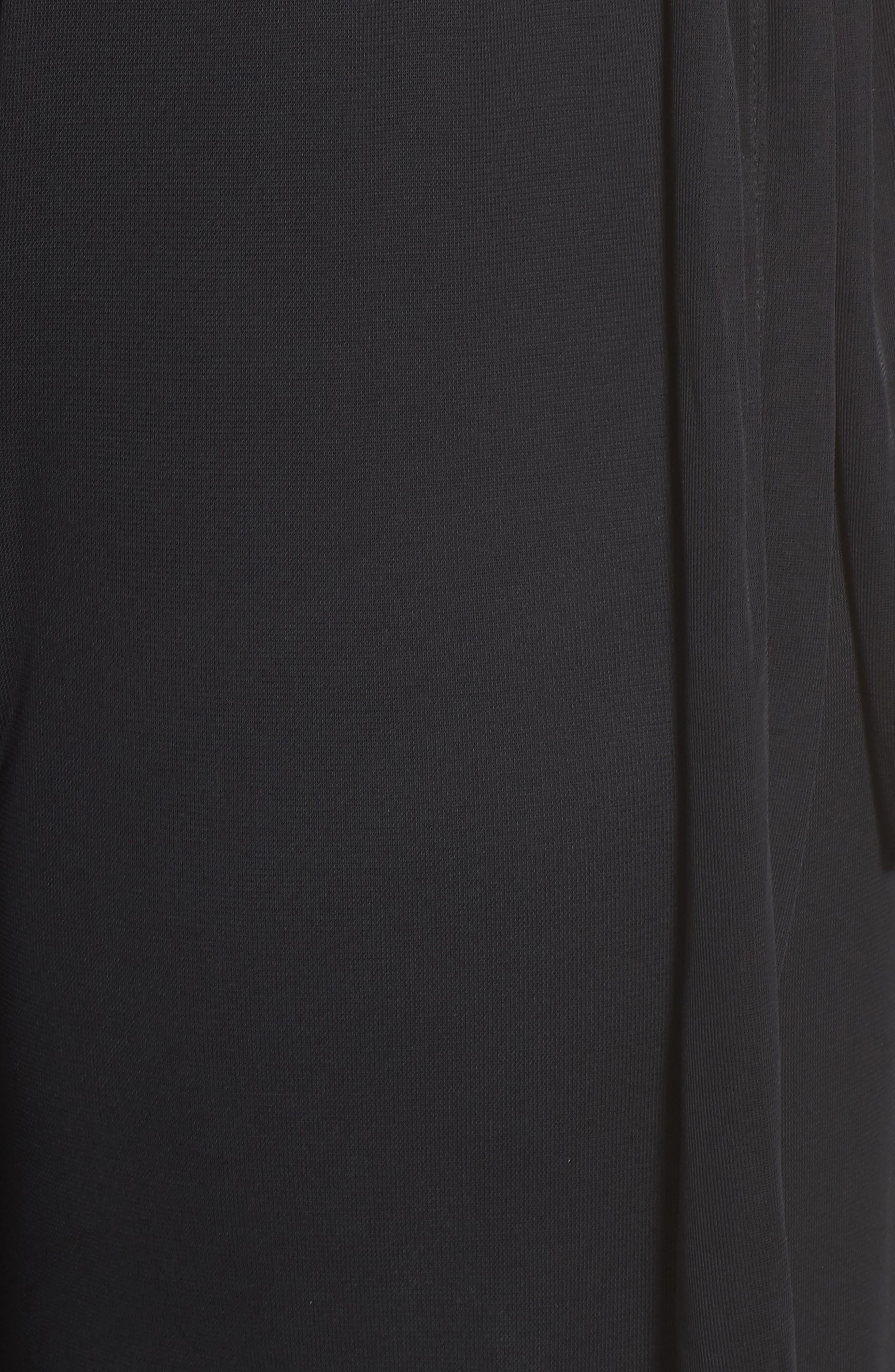 High Rise Tie Waist Wide Leg Pants,                             Alternate thumbnail 5, color,                             BLACK