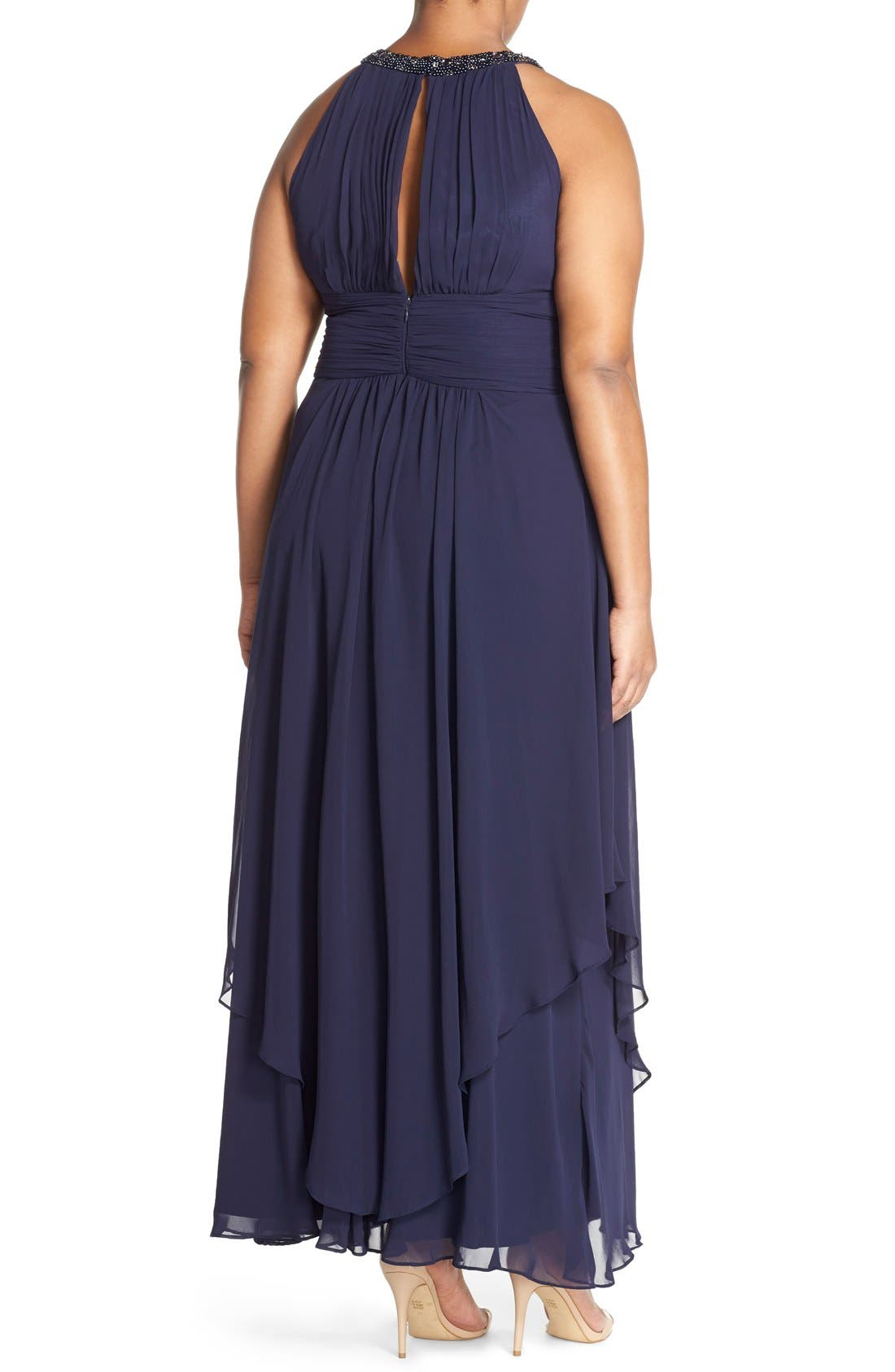 Embellished Keyhole Neck Chiffon Gown,                             Alternate thumbnail 3, color,                             410