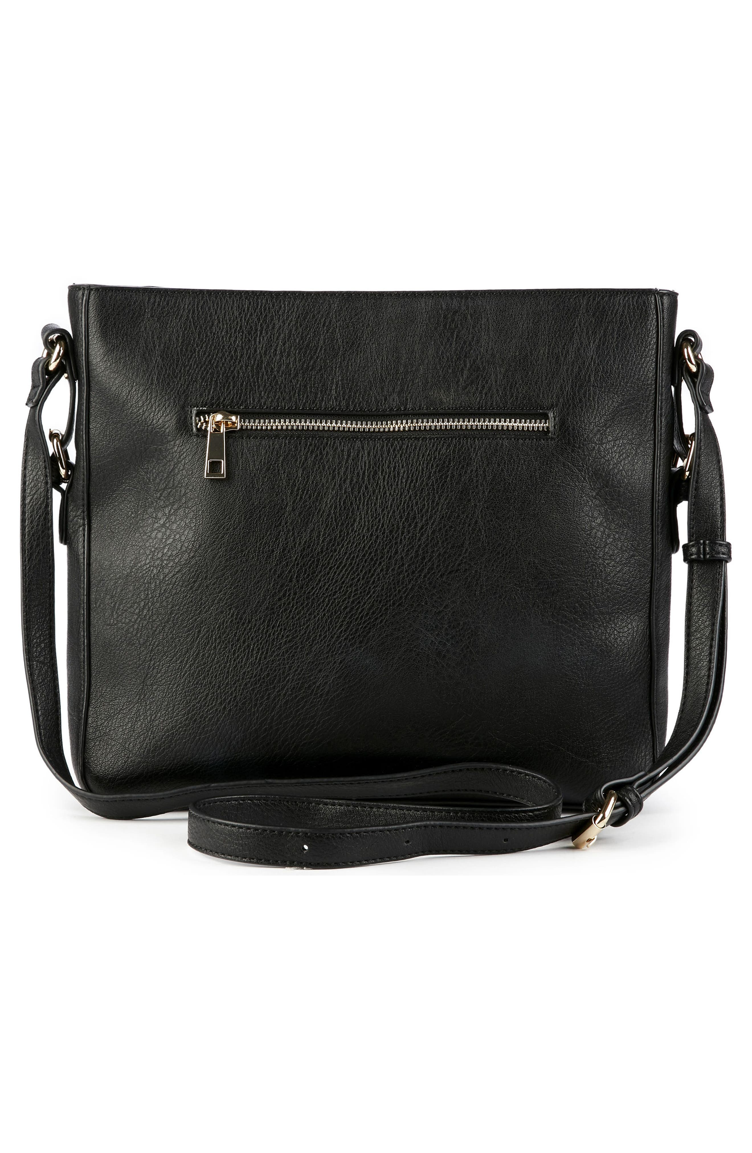 Essential Flat Faux Leather Crossbody Bag,                             Alternate thumbnail 5, color,