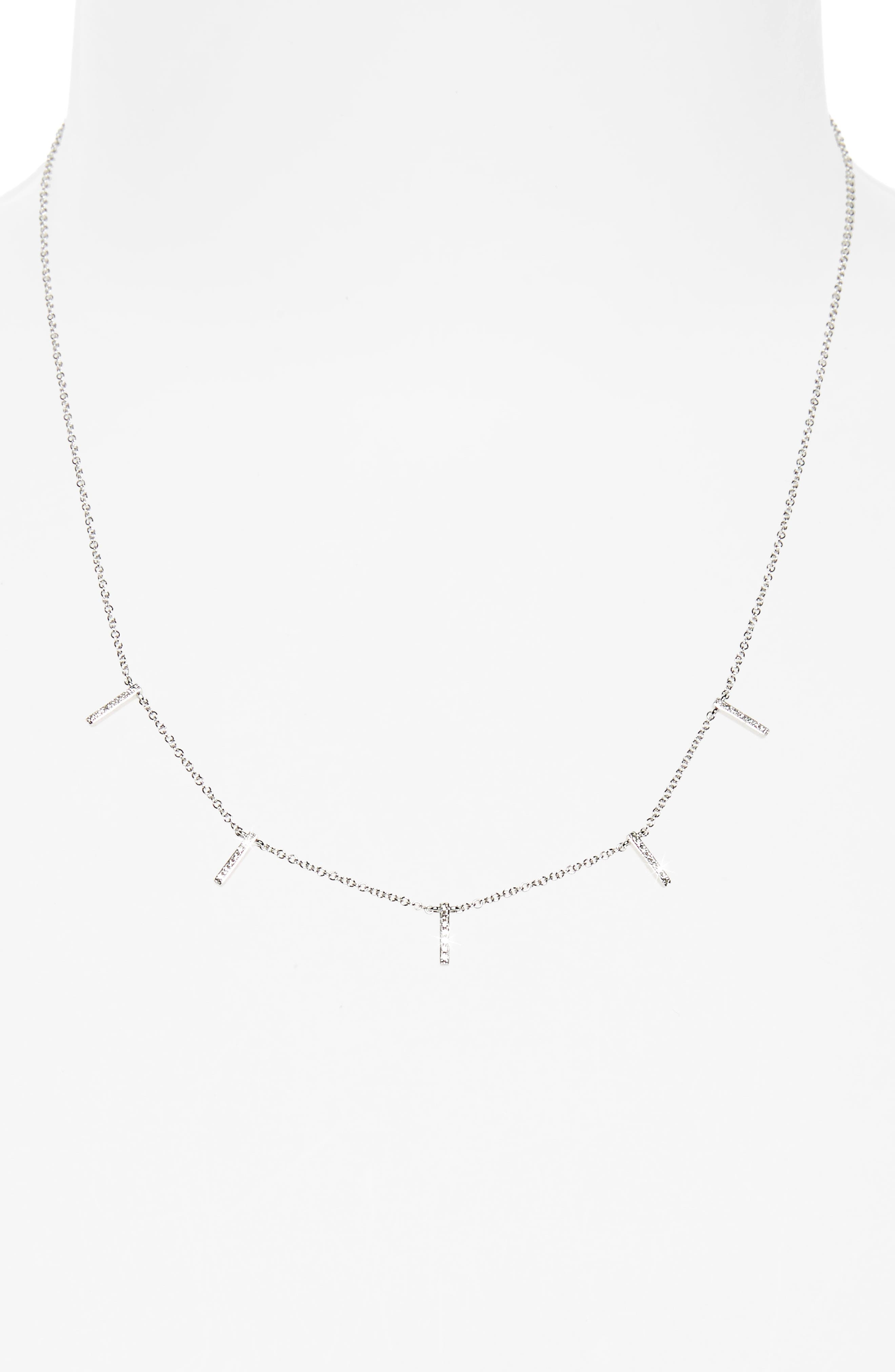Diamond Collar Necklace,                             Alternate thumbnail 2, color,                             WHITE GOLD