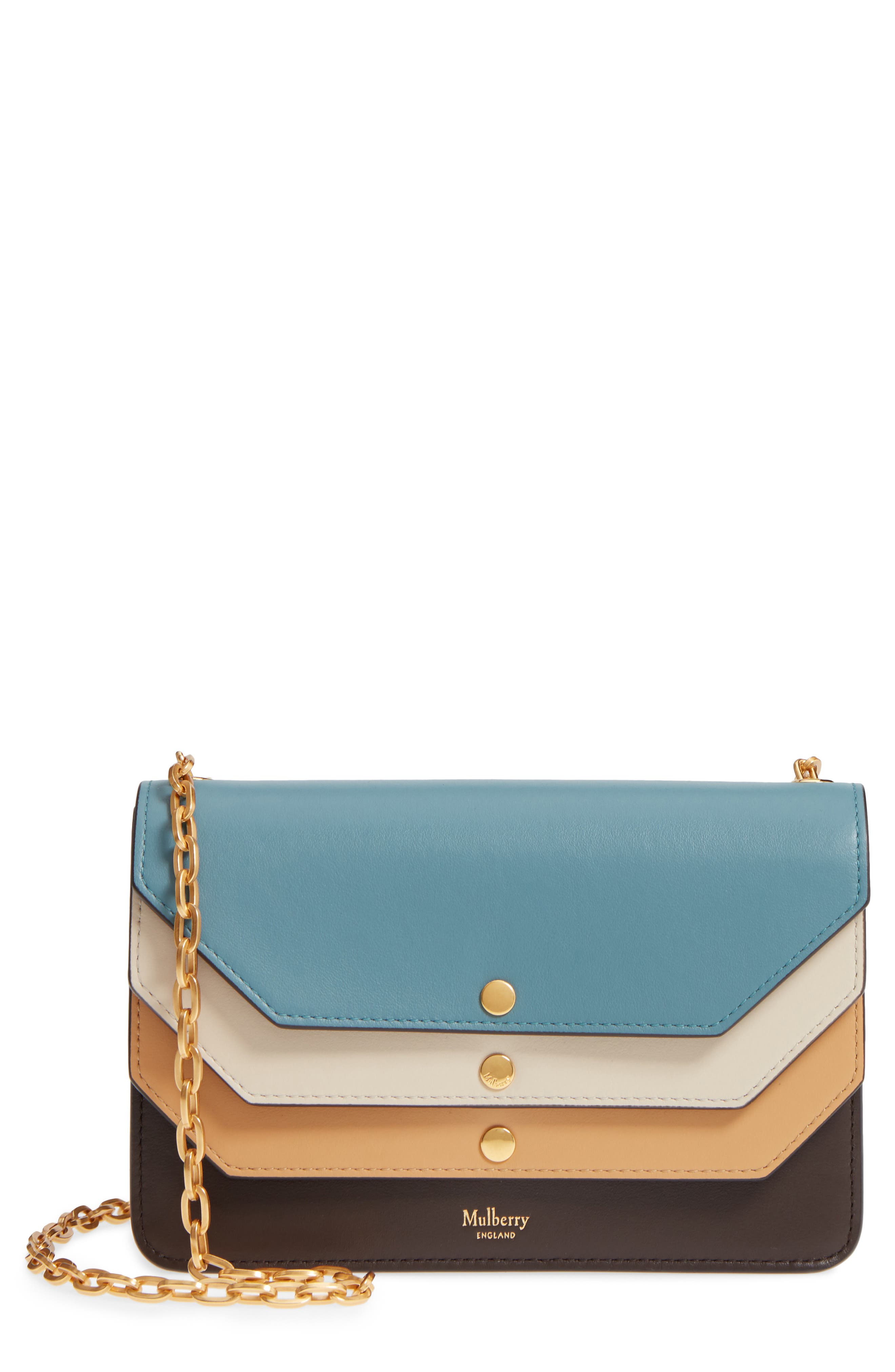 Multiflap Calfskin Leather Clutch,                             Main thumbnail 1, color,                             401