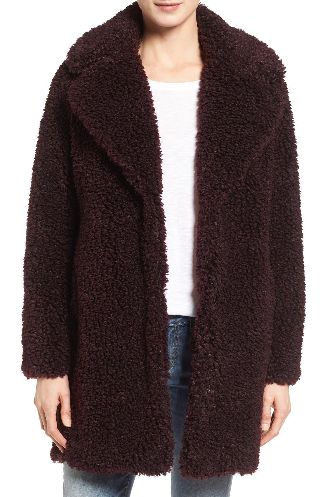 'Teddy Bear' Notch Collar Reversible Faux Fur Coat,                             Main thumbnail 3, color,