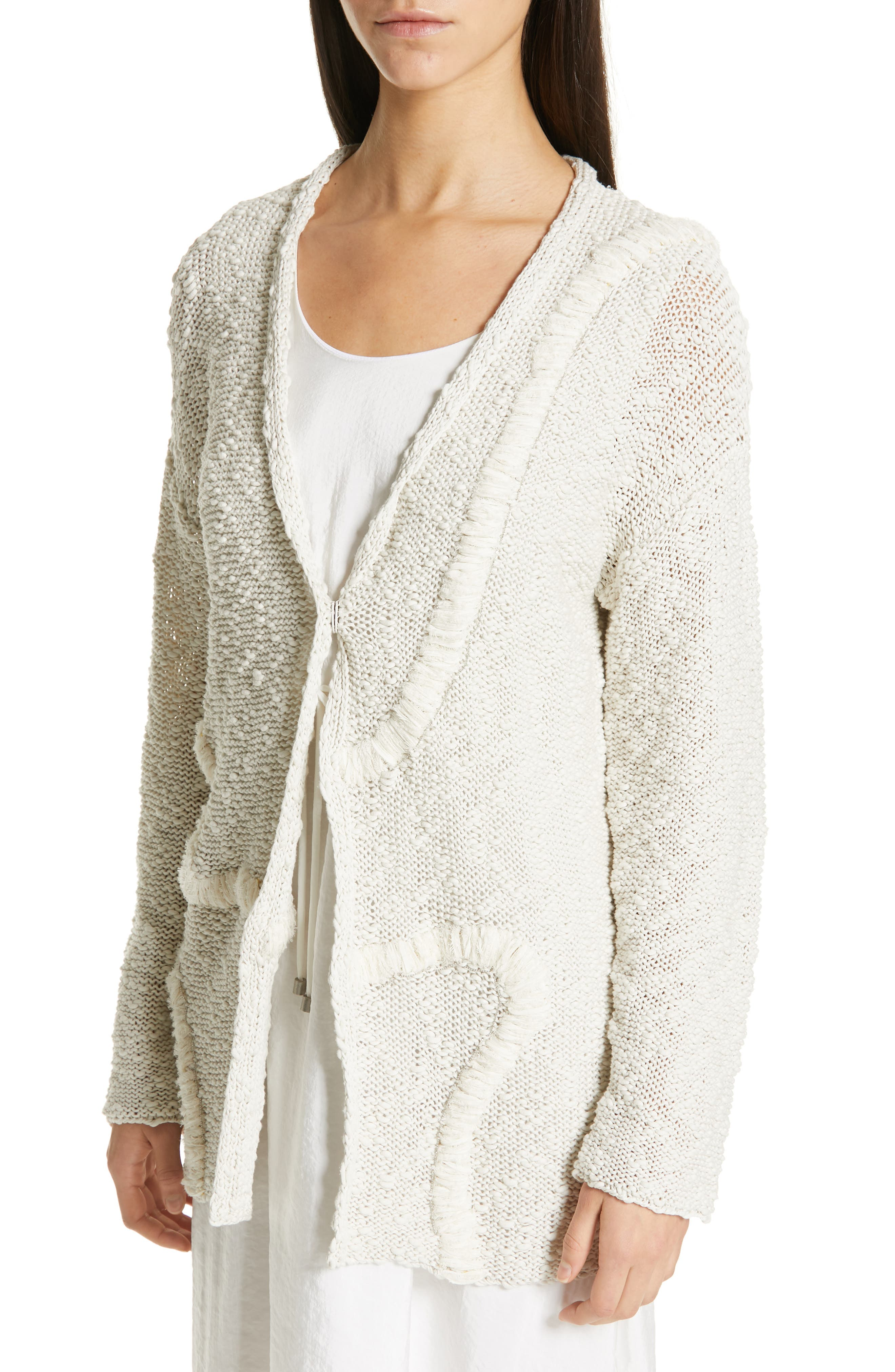Embroidered Long Cardigan,                             Alternate thumbnail 4, color,                             BEIGE