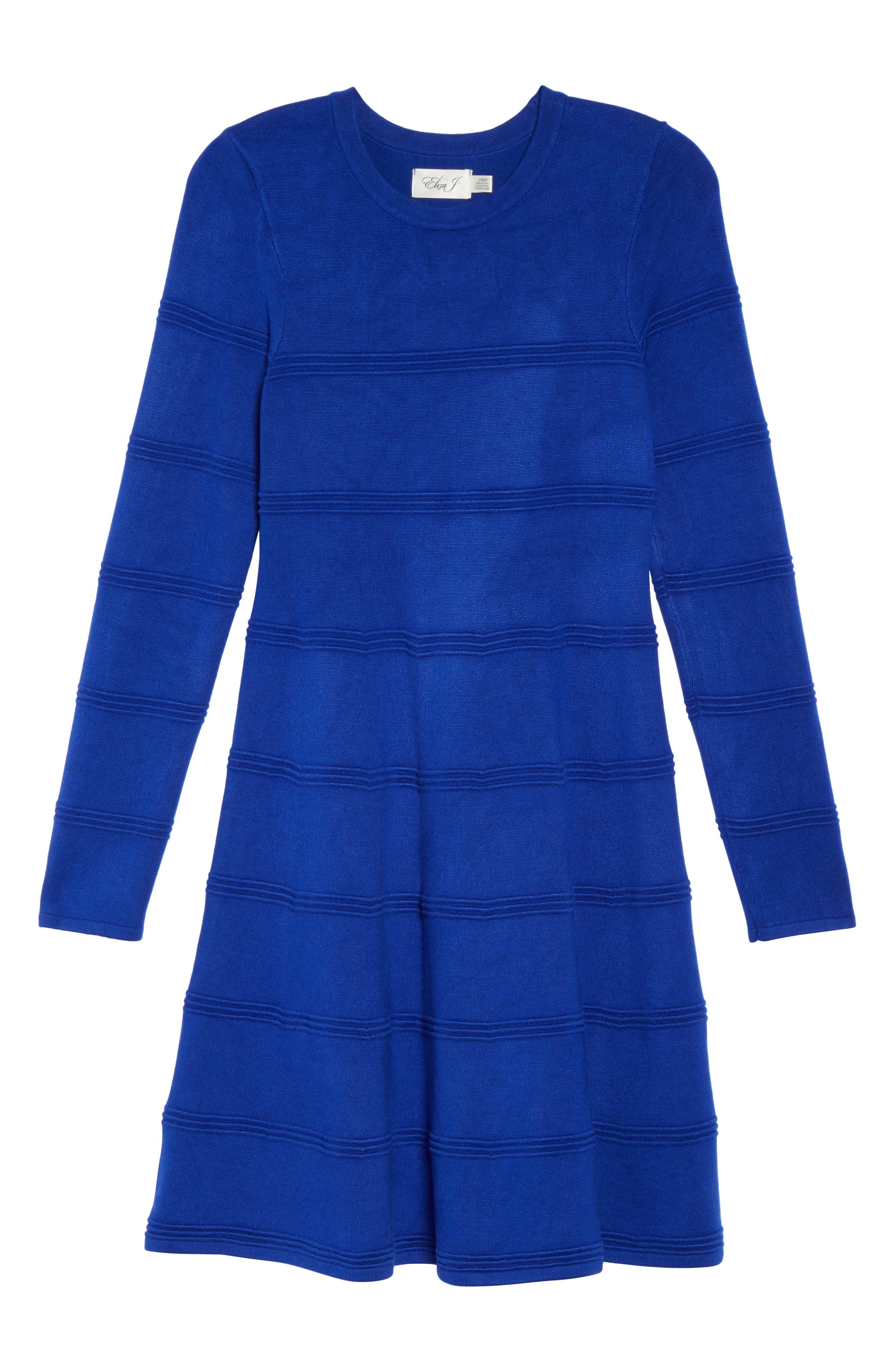 A-Line Sweater Dress,                             Alternate thumbnail 6, color,                             COBALT