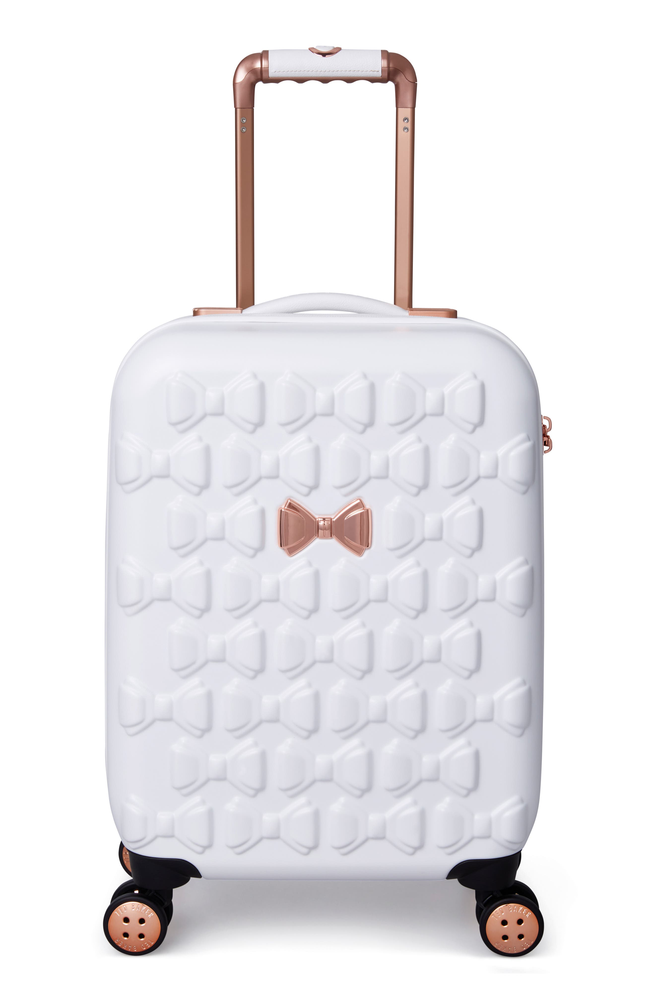 Small Beau 21-Inch Bow Embossed Four-Wheel Trolley Suitcase,                             Main thumbnail 1, color,                             WHITE