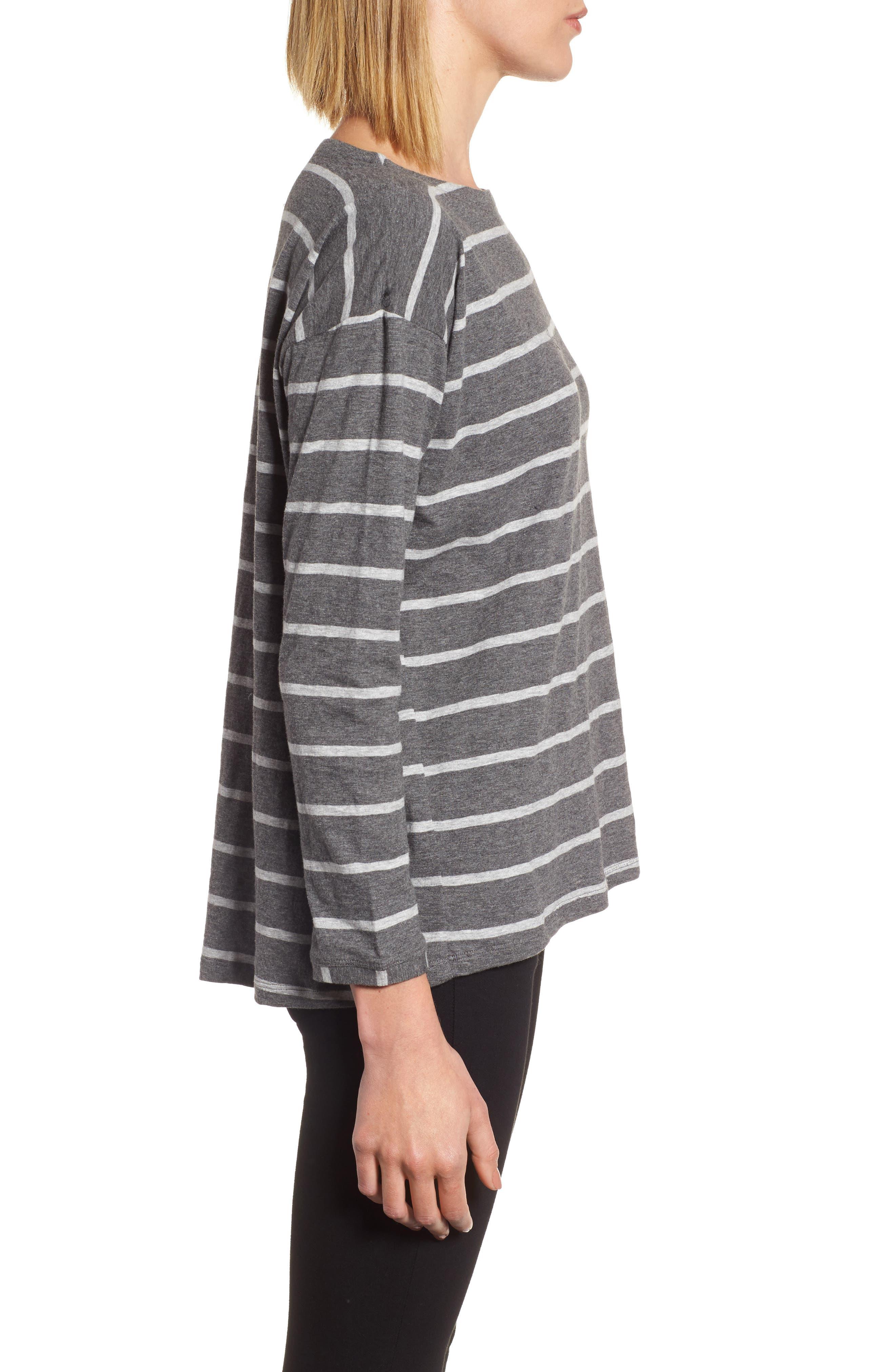 Stripe Organic Cotton Top,                             Alternate thumbnail 3, color,                             030