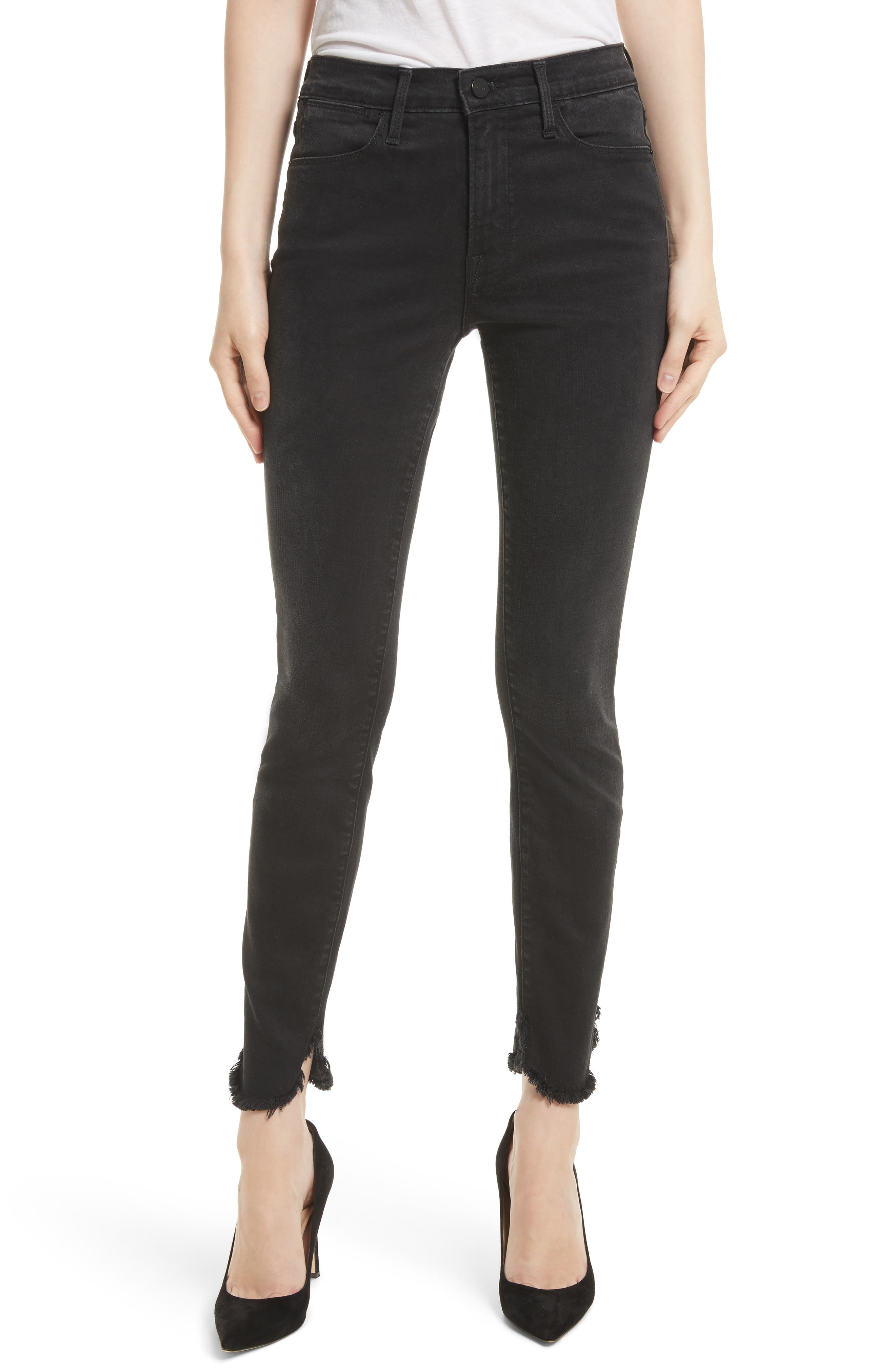 Le High Petal Hem Skinny Jeans,                             Main thumbnail 1, color,                             001