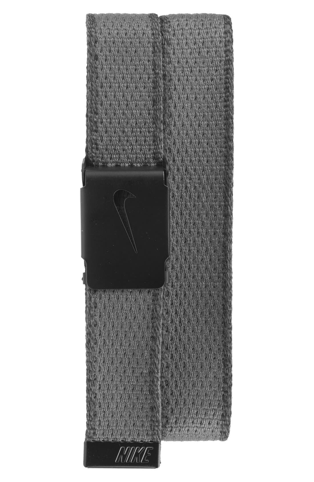 Knit Web Belt,                             Main thumbnail 1, color,                             DARK GREY