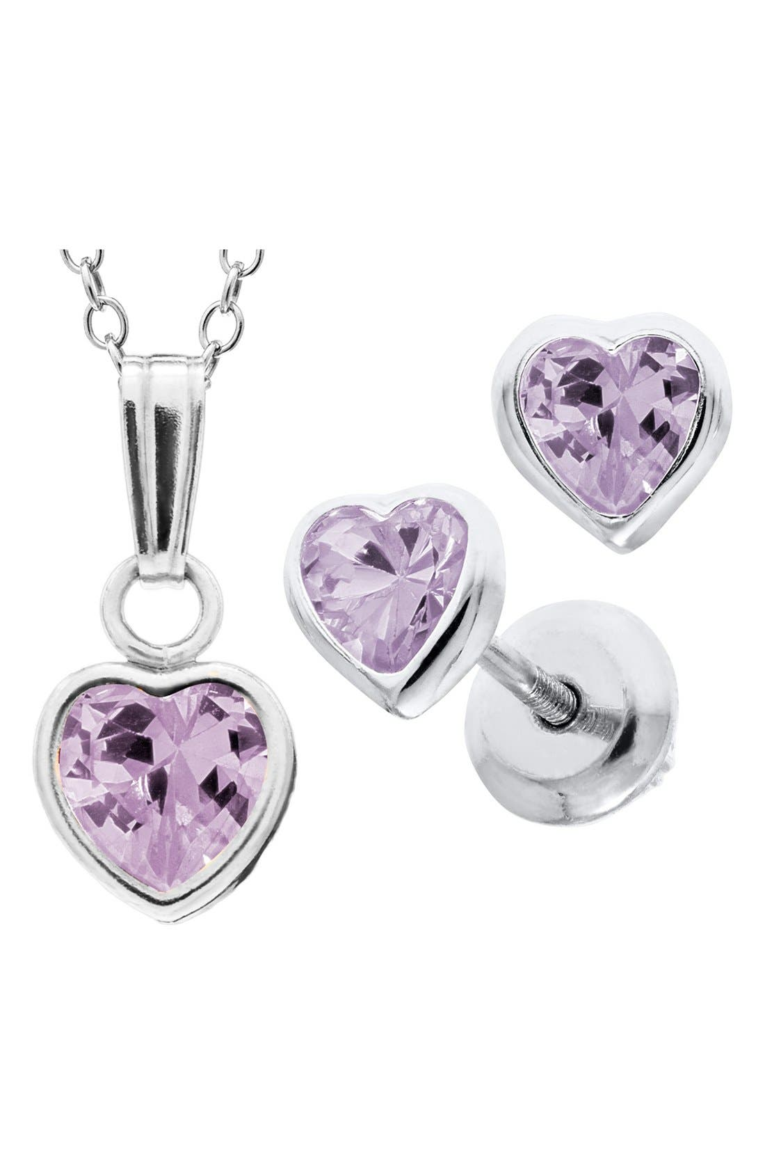 Sterling Silver & Cubic Zirconia Birthstone Necklace & Earrings Set,                             Alternate thumbnail 2, color,                             501