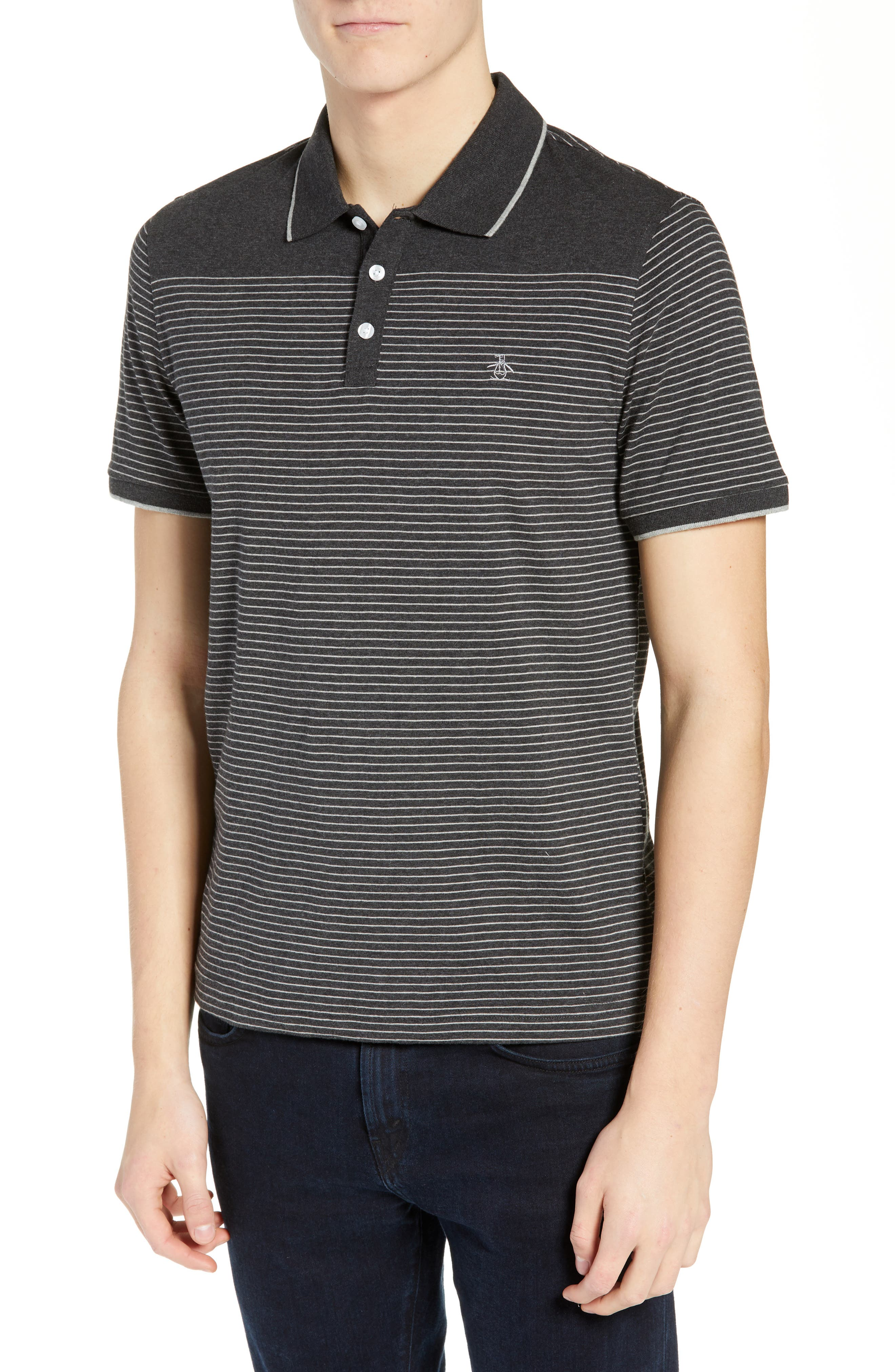 Tipped Feeder Stripe Polo,                             Main thumbnail 1, color,                             DARK CHARCOAL HEATHER