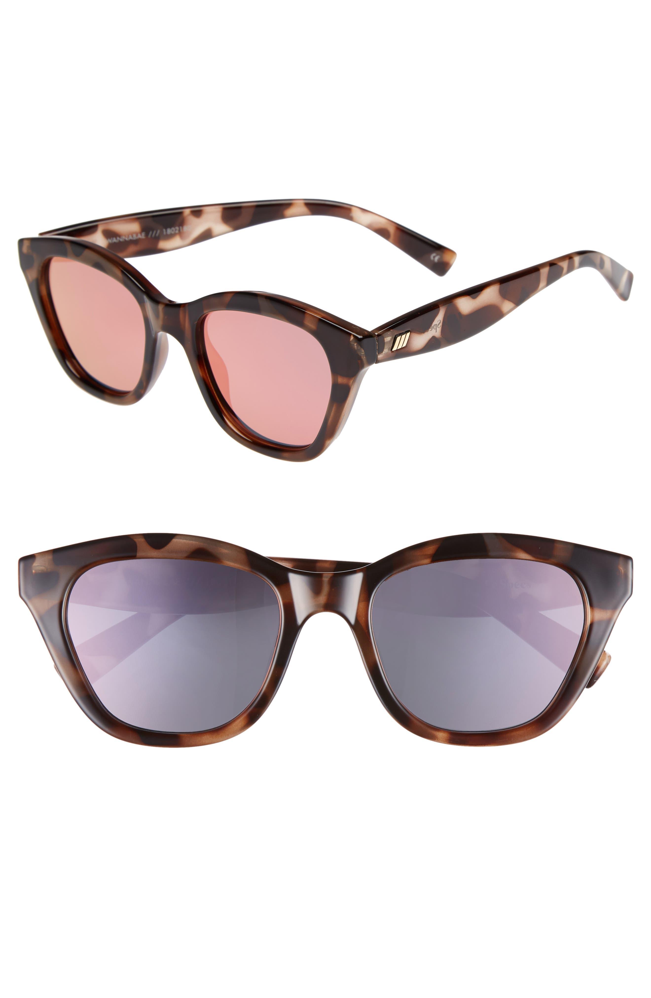 Wannabae 49mm Angular Sunglasses,                             Main thumbnail 1, color,                             VOLCANIC TORT