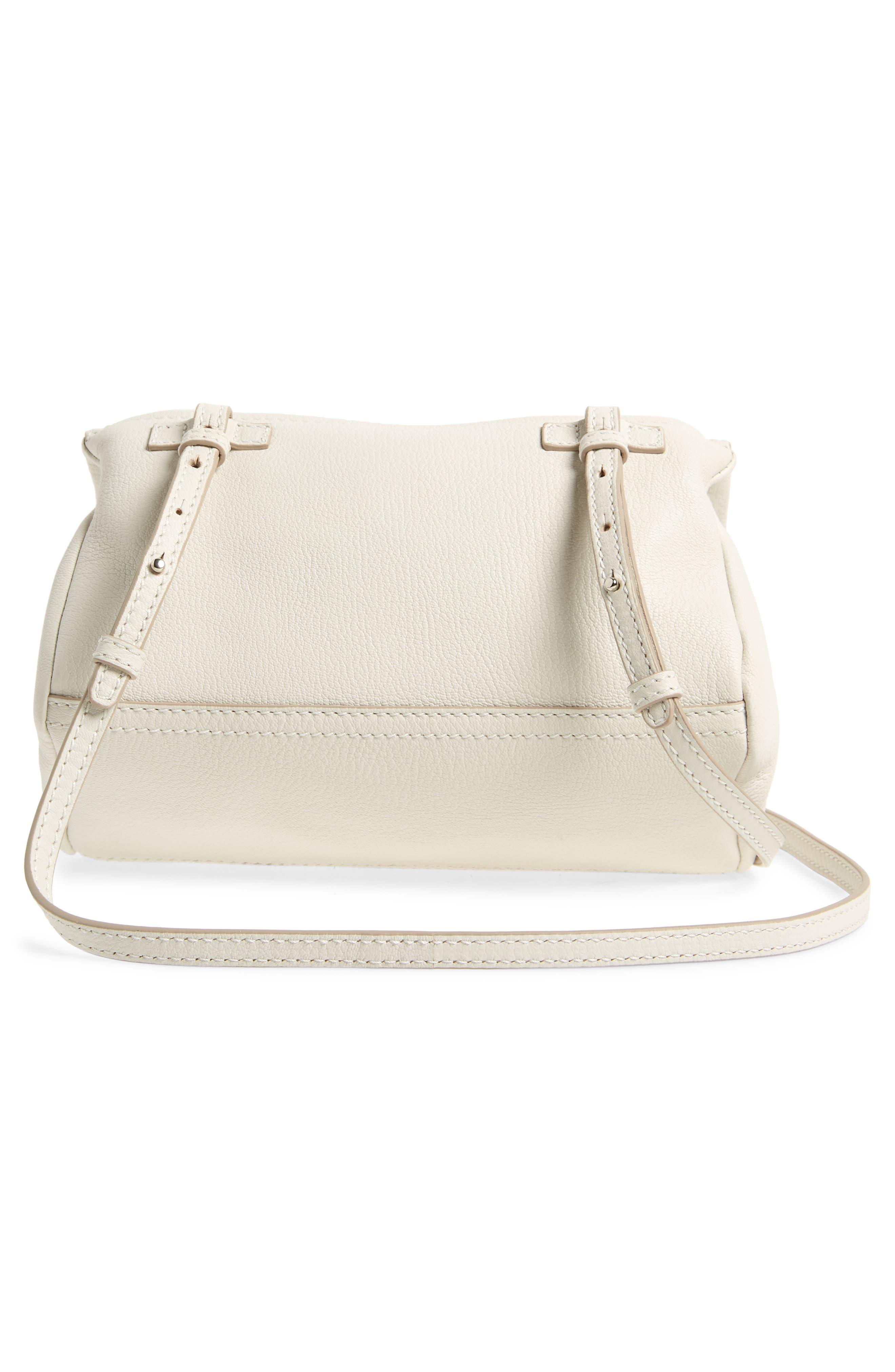 'Mini Pandora' Sugar Leather Shoulder Bag,                             Alternate thumbnail 3, color,                             WHITE