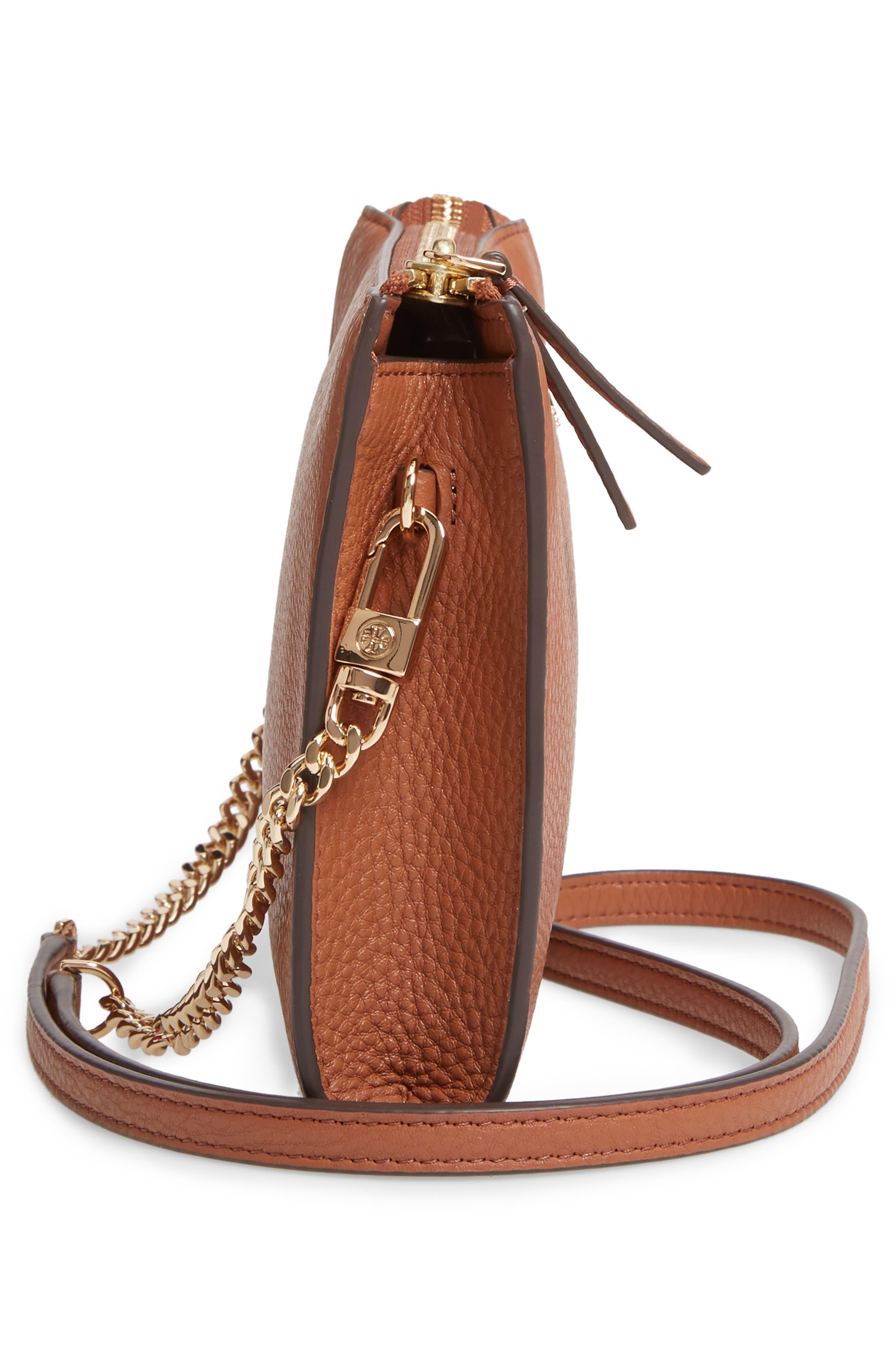 TORY BURCH,                             Pebbled Leather Top Zip Crossbody Bag,                             Alternate thumbnail 5, color,                             CLASSIC TAN