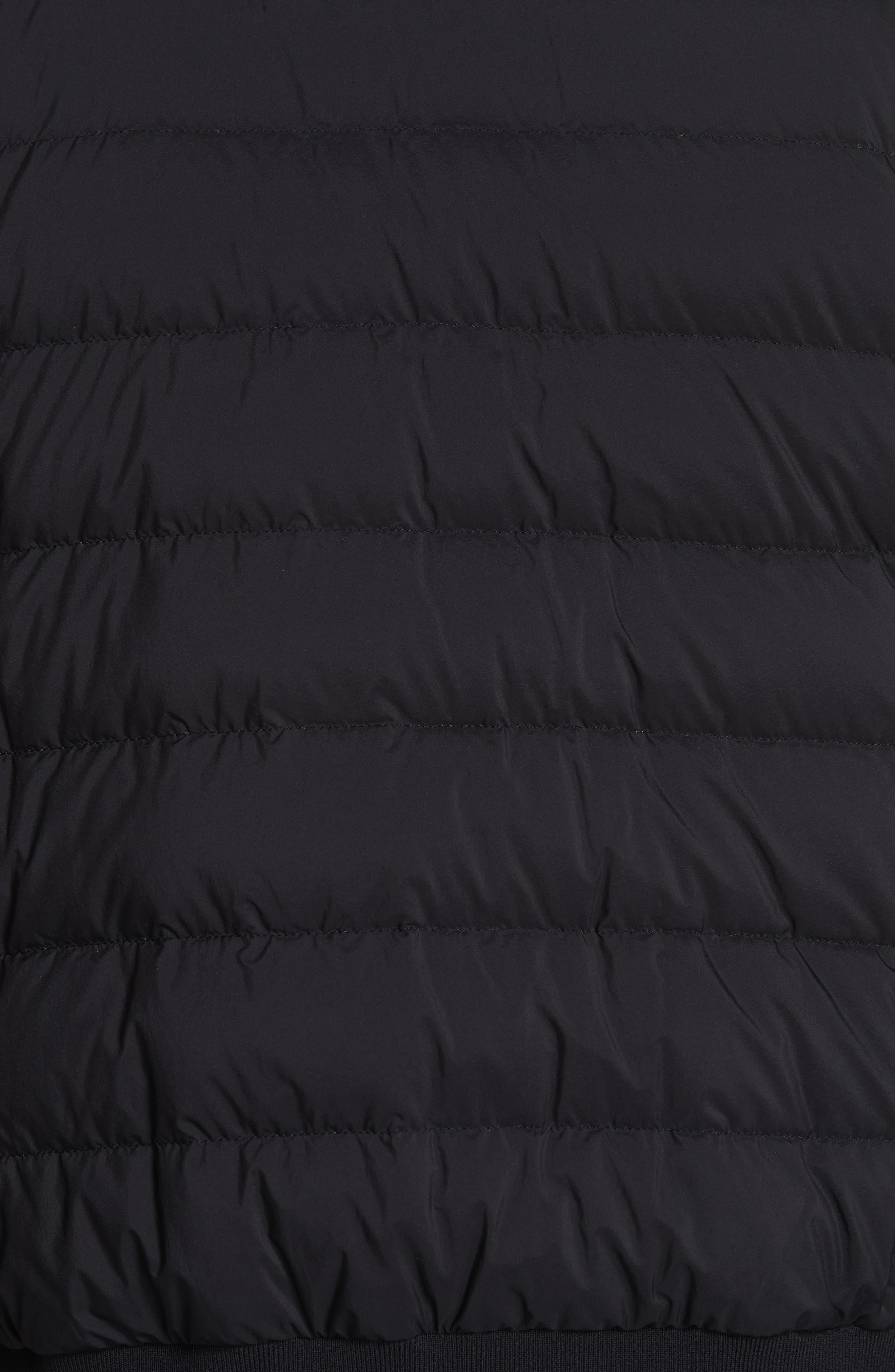 Matte Nylon Down Bomber Jacket,                             Alternate thumbnail 6, color,                             BLACK