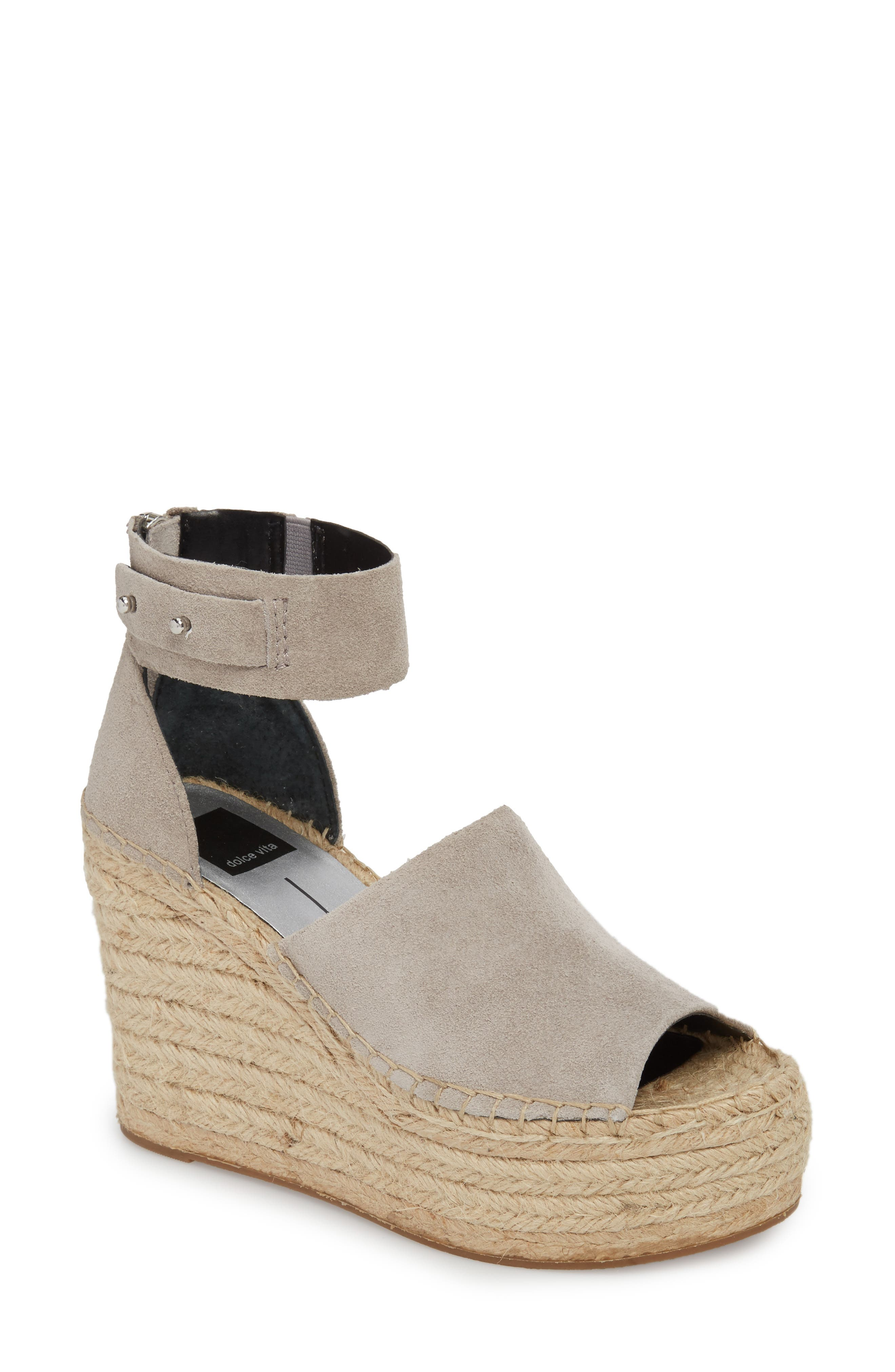 Straw Wedge Espadrille Sandal,                             Main thumbnail 1, color,                             033