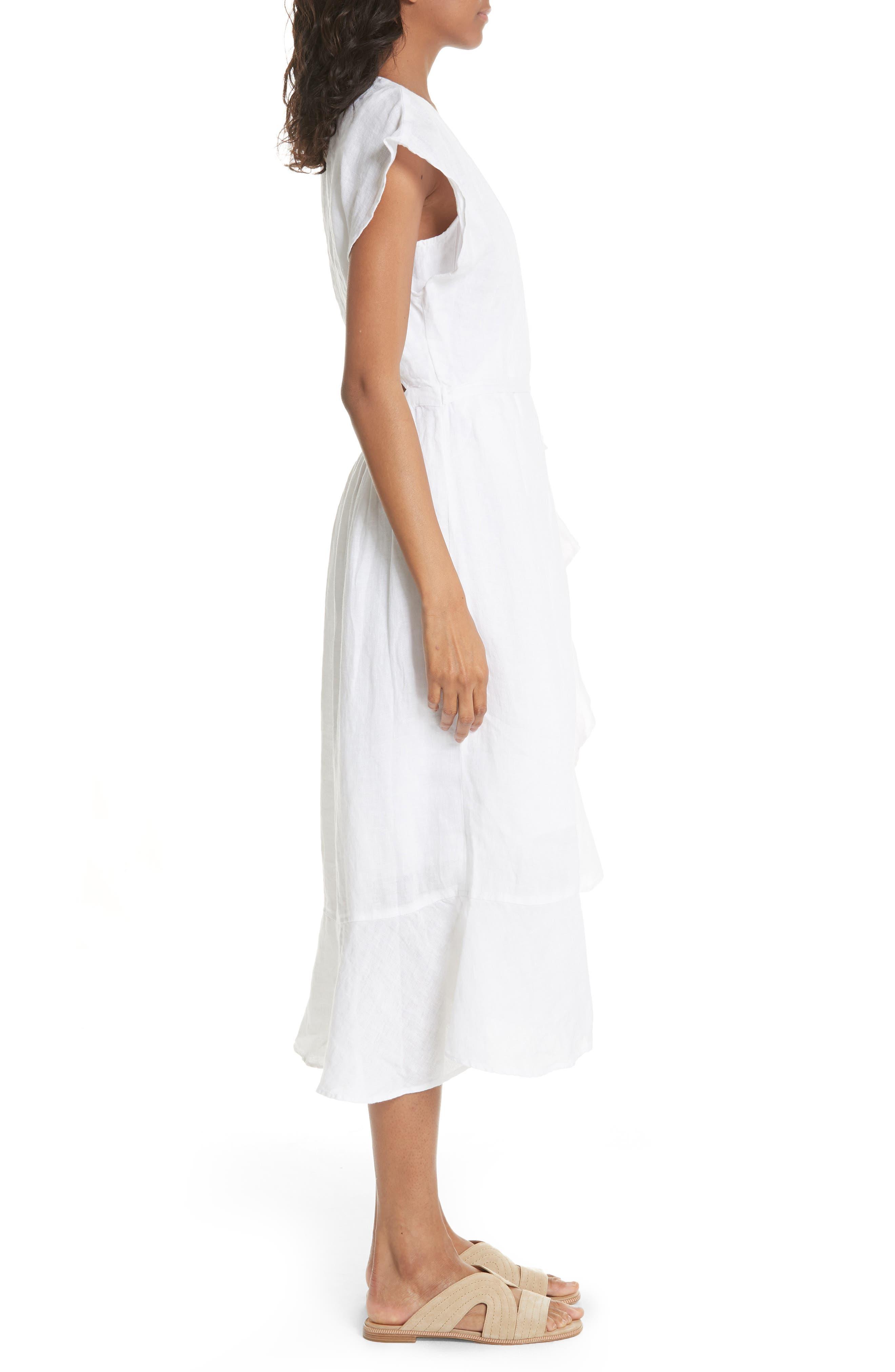 Filma Back Cutout Linen Wrap Dress,                             Alternate thumbnail 3, color,                             PORCELAIN