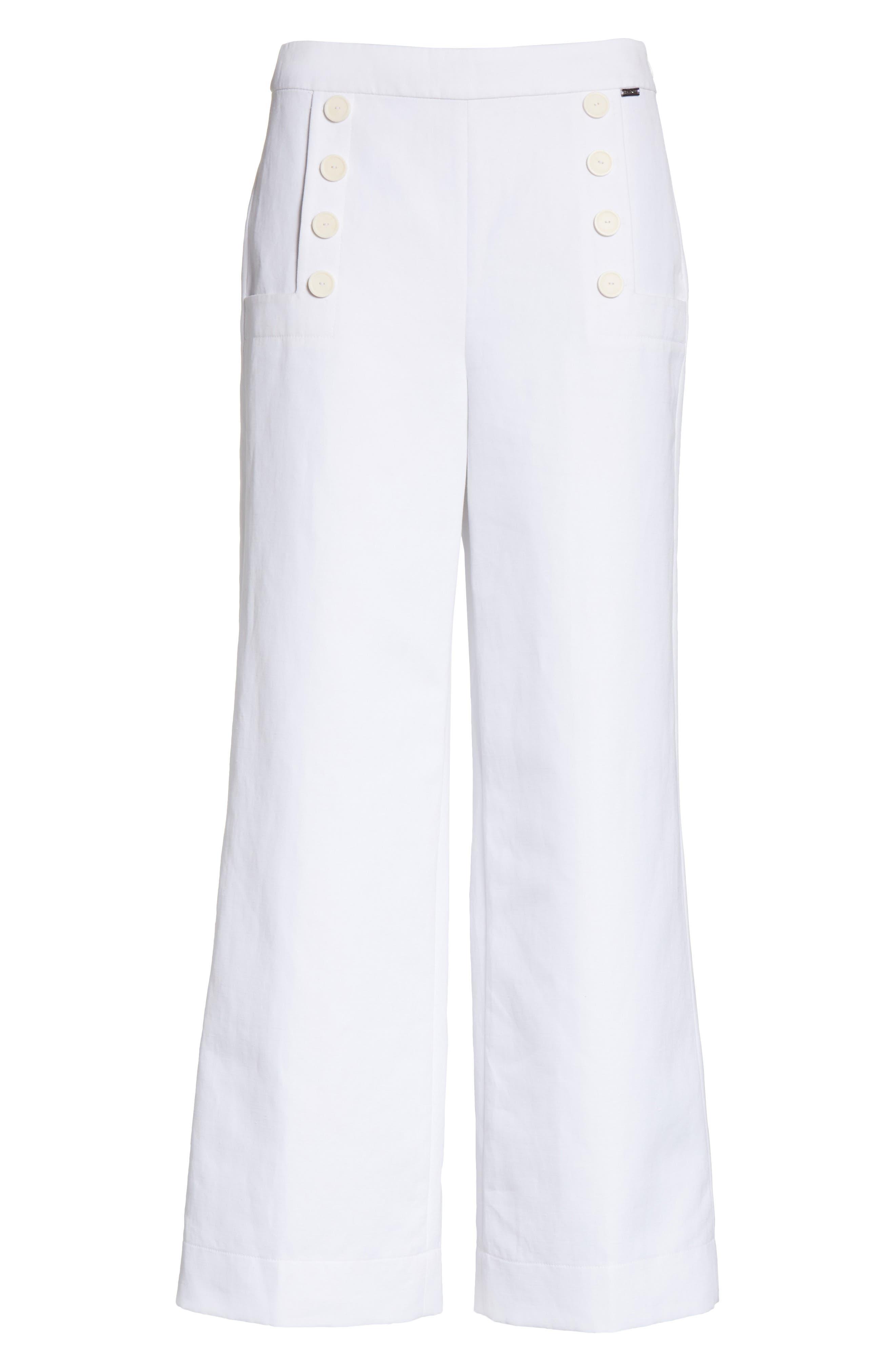 Cotton & Linen Crop Wide Leg Pants,                             Alternate thumbnail 6, color,                             100