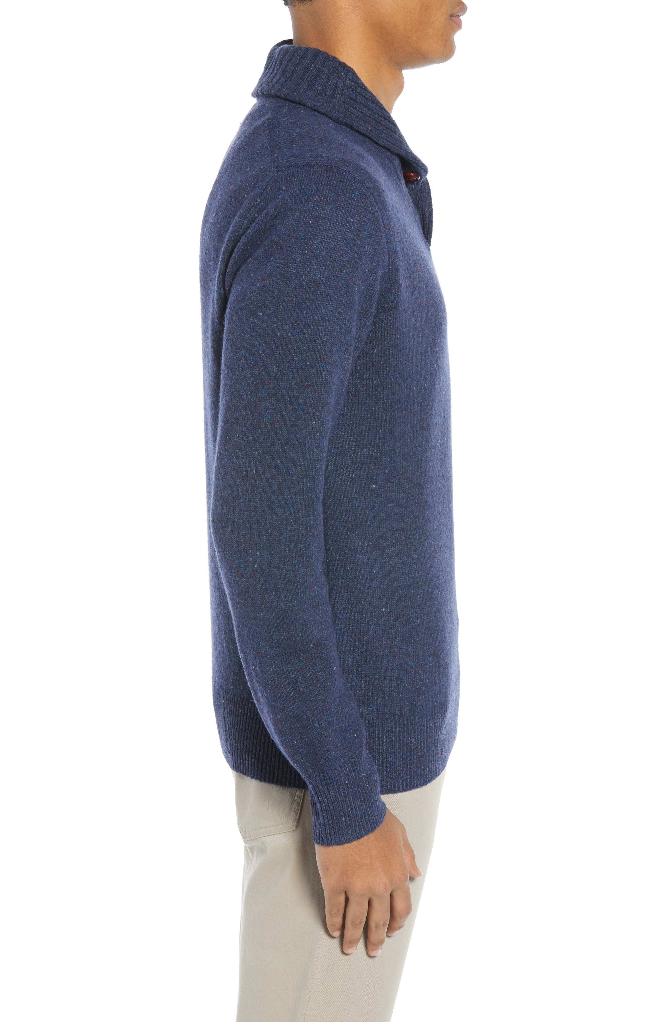 Rugged Merino Wool Blend Shawl Collar Pullover Sweater,                             Alternate thumbnail 3, color,                             NAVY DONEGAL
