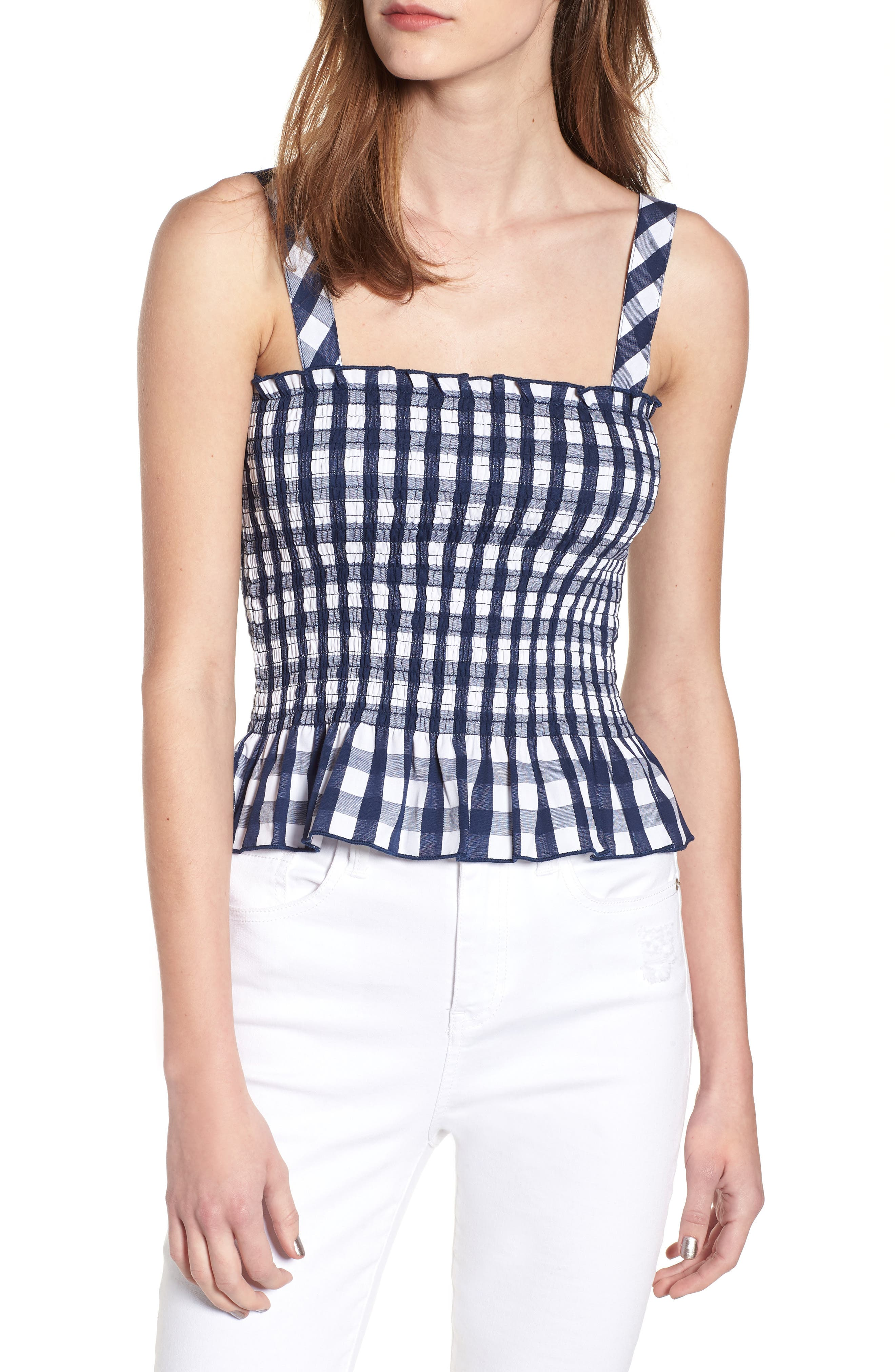 Gingham Smocked Tank,                         Main,                         color, 413