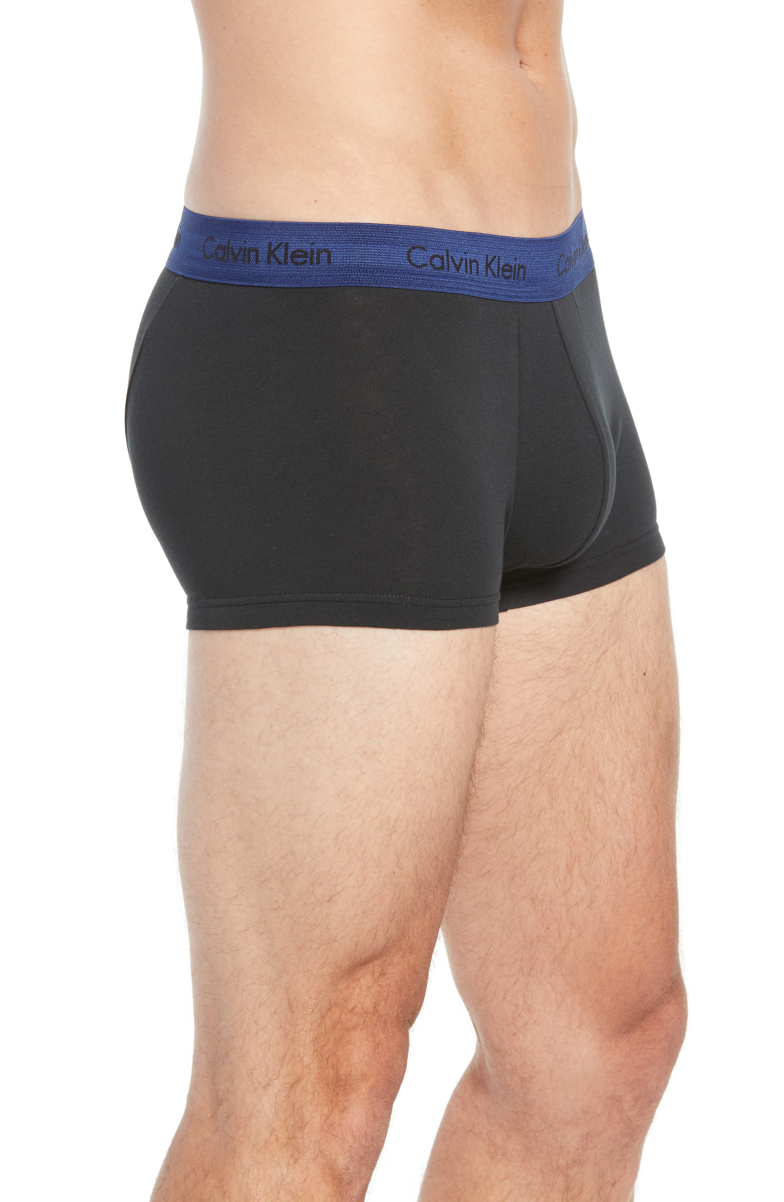 3-Pack Stretch Cotton Low Rise Trunks,                             Alternate thumbnail 4, color,                             BLACK W/ GREEN/ BLUE/ ORANGE