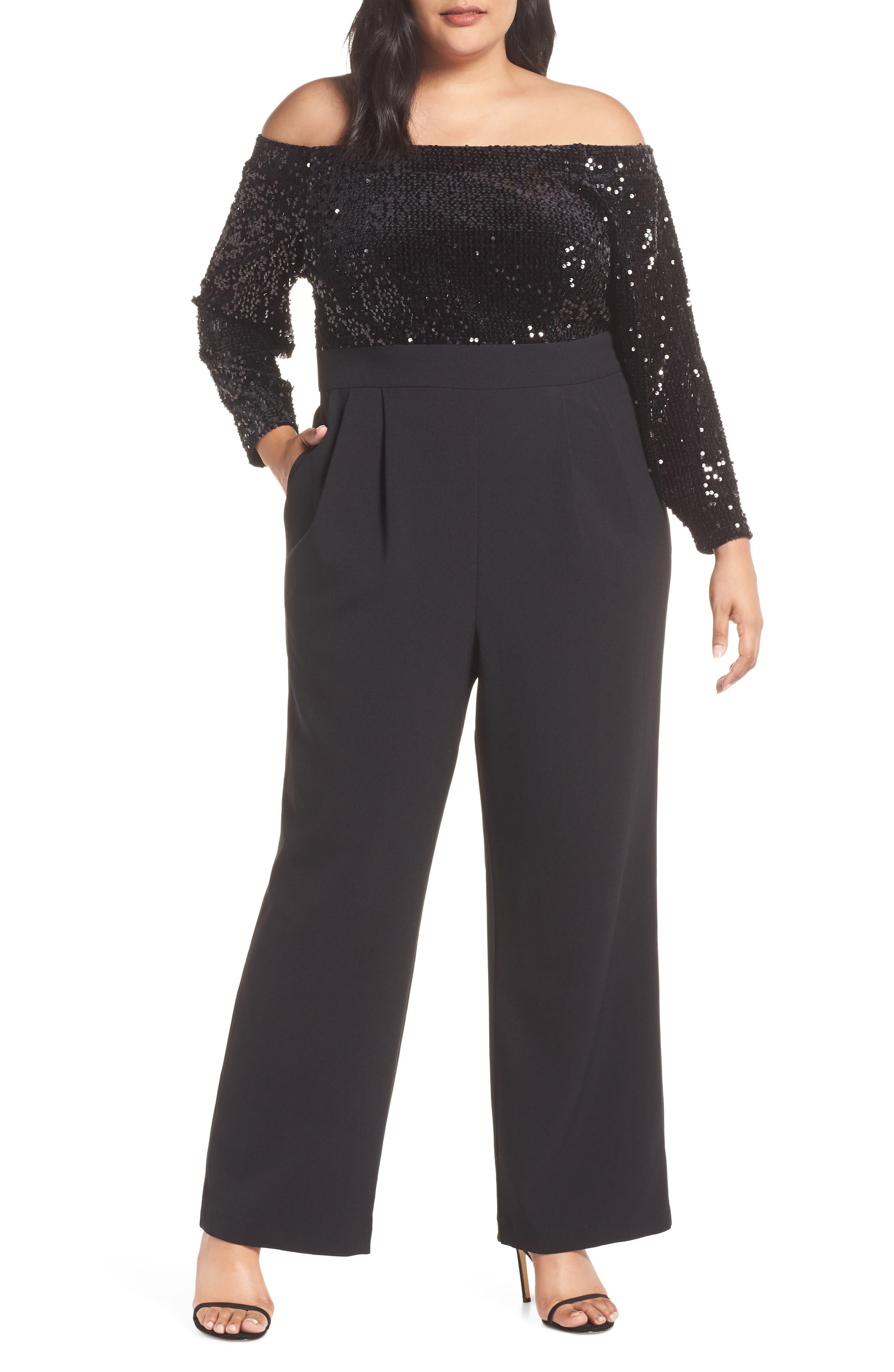 Off the Shoulder Sequin Velvet & Crepe Jumpsuit,                             Main thumbnail 1, color,                             BLACK