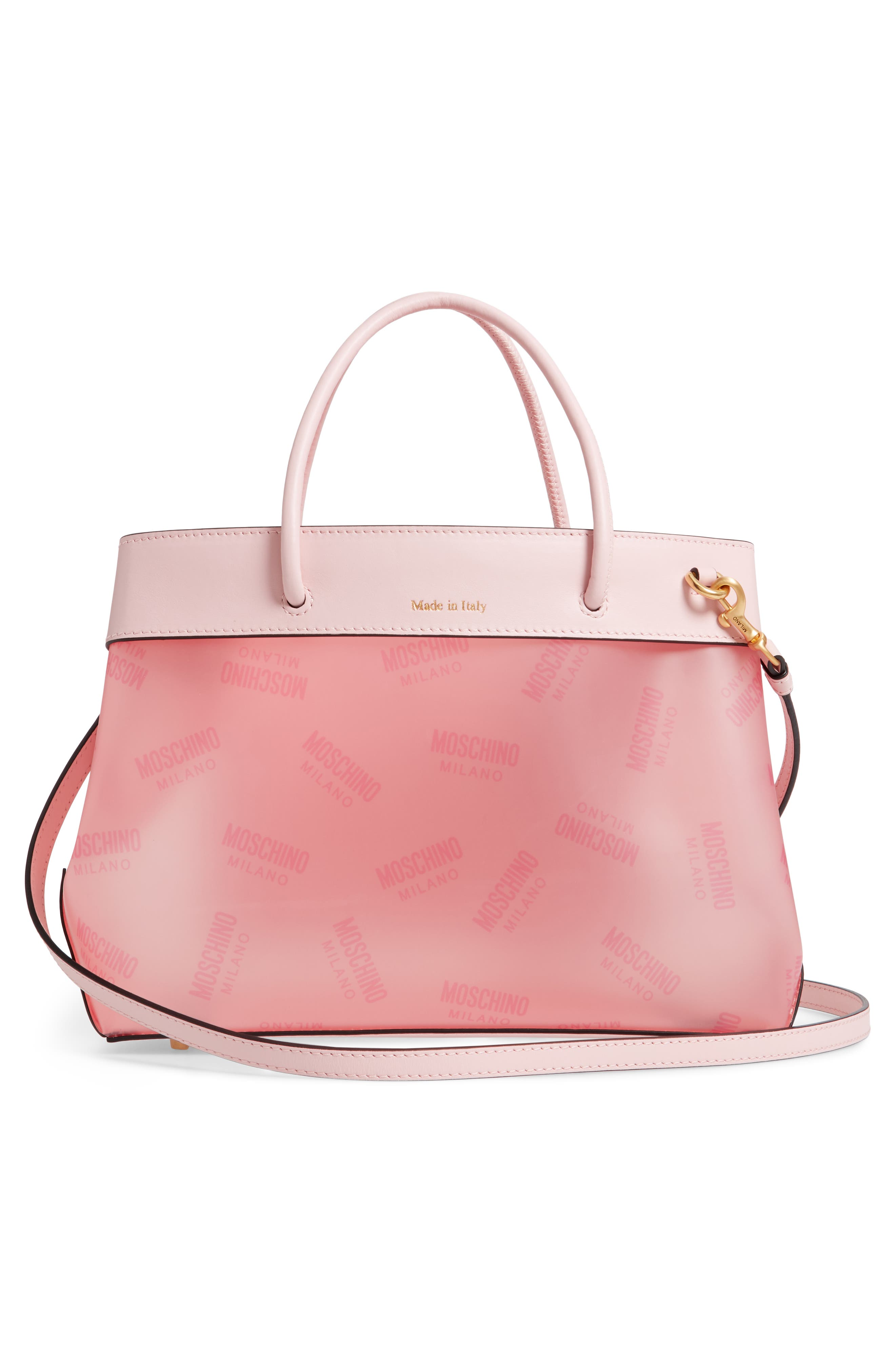 MOSCHINO,                             Translucent Logo Tote,                             Alternate thumbnail 3, color,                             PINK
