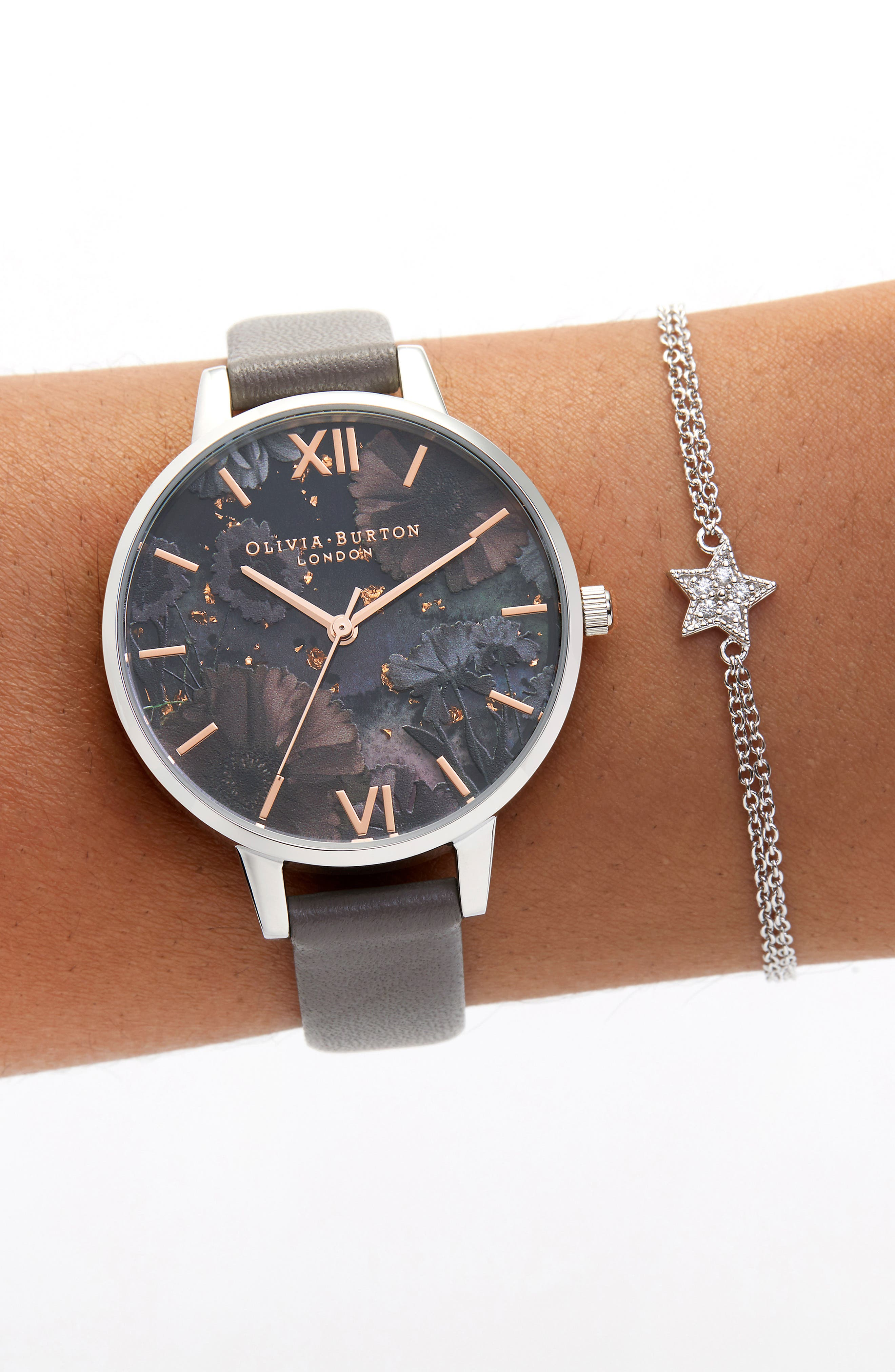 Celestial Leather Strap Watch, 34mm,                             Alternate thumbnail 2, color,                             LOND GREY/ FLORAL GLIT/SILVER
