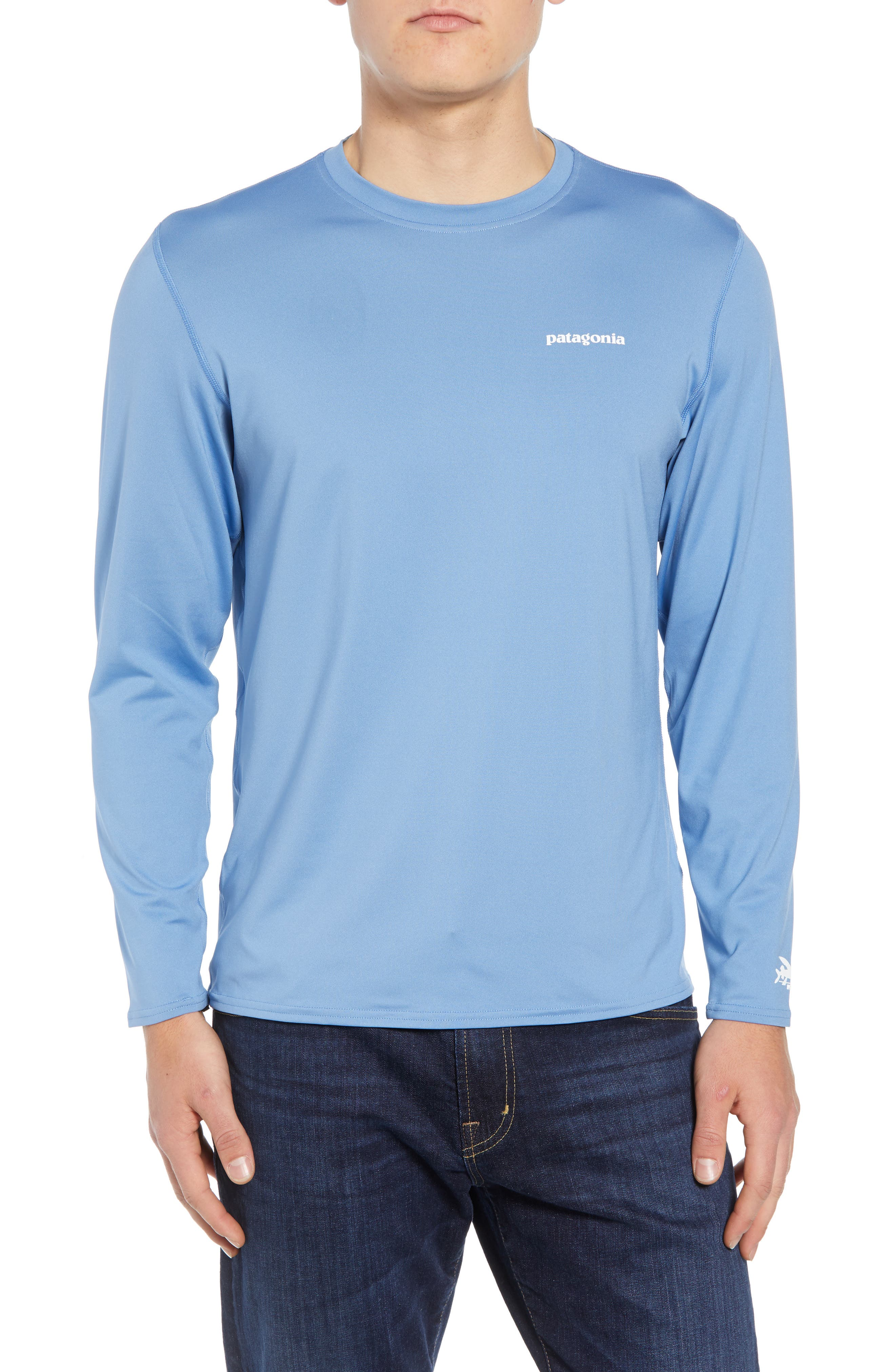 RØ<sup>®</sup> Sun Long Sleeve T-Shirt,                         Main,                         color, BOARDSHORT LOGO/ RAILROAD BLUE
