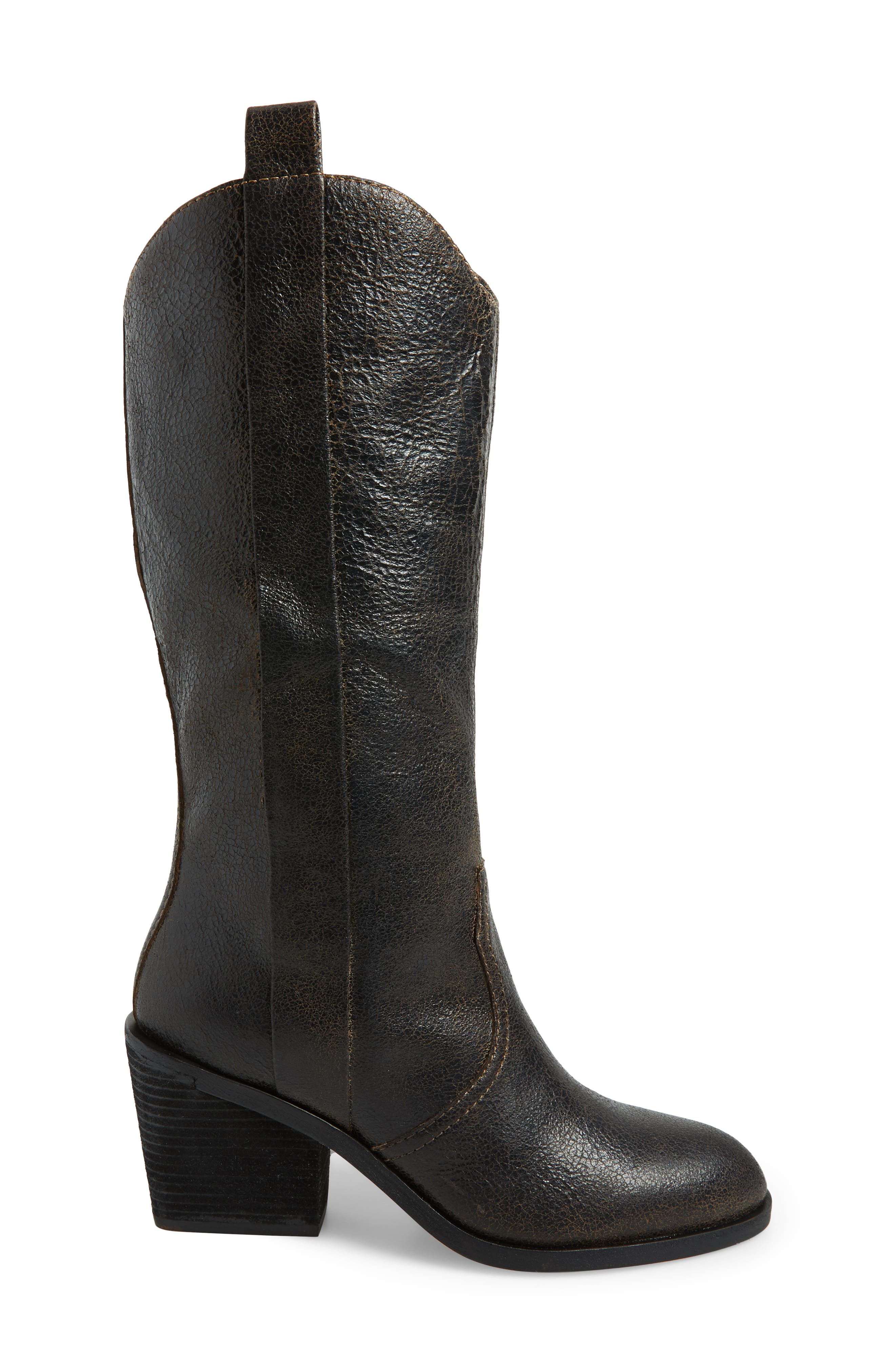 Riot Western Boot,                             Alternate thumbnail 3, color,                             BLACK VINTAGE LEATHER