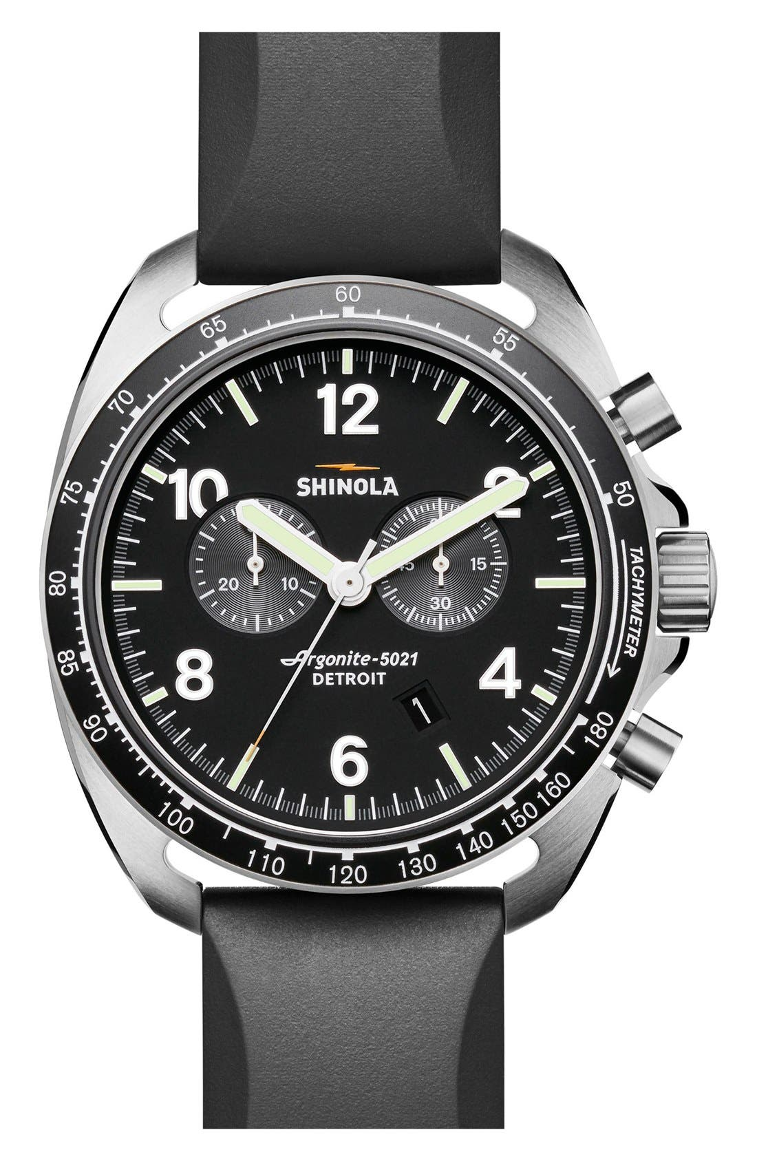 SHINOLA,                             'The Rambler' Chronograph Rubber Strap Watch, 44mm,                             Main thumbnail 1, color,                             001