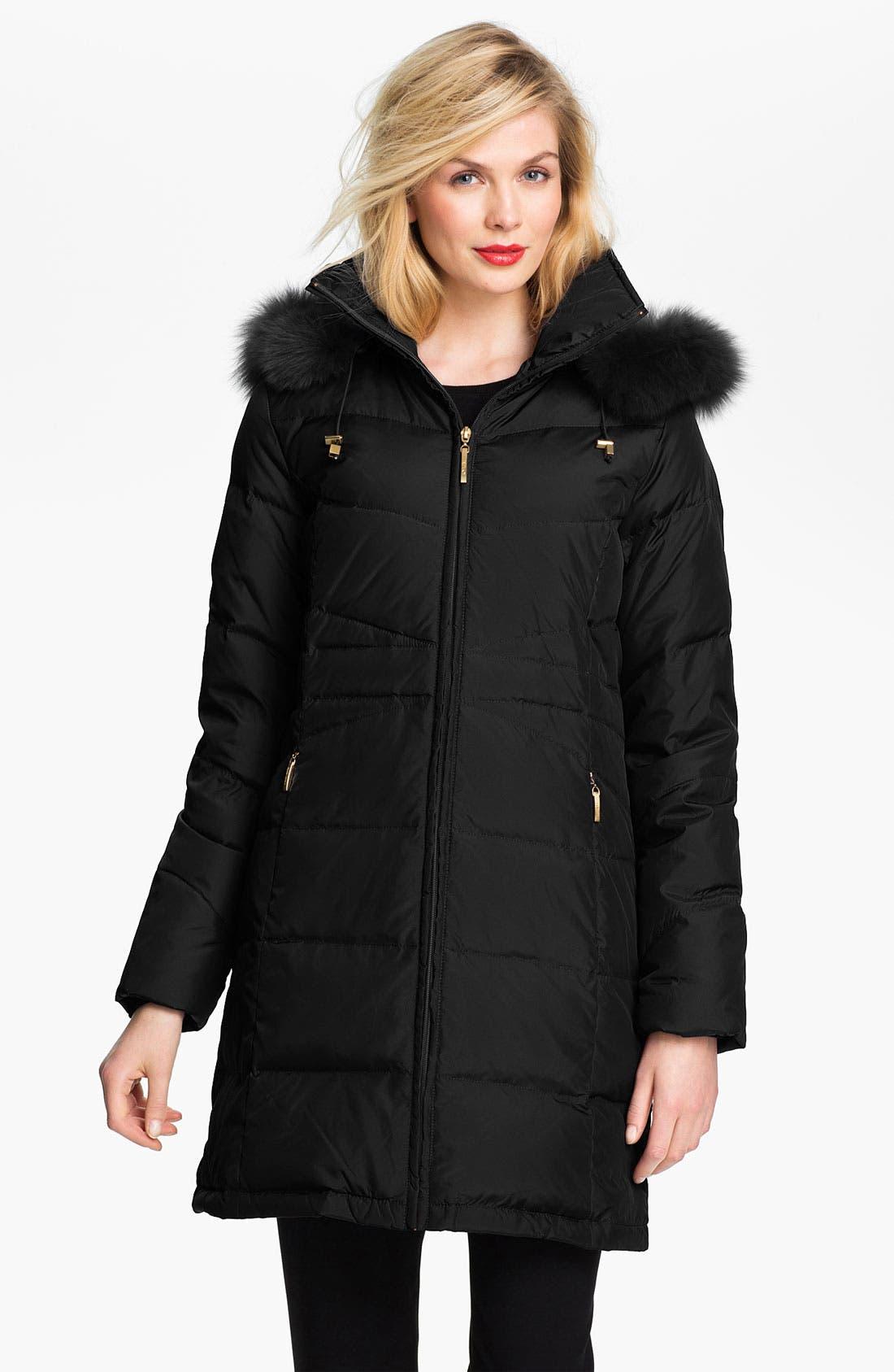 ELLEN TRACY,                             Genuine Fox Fur Trim Down Coat,                             Main thumbnail 1, color,                             001