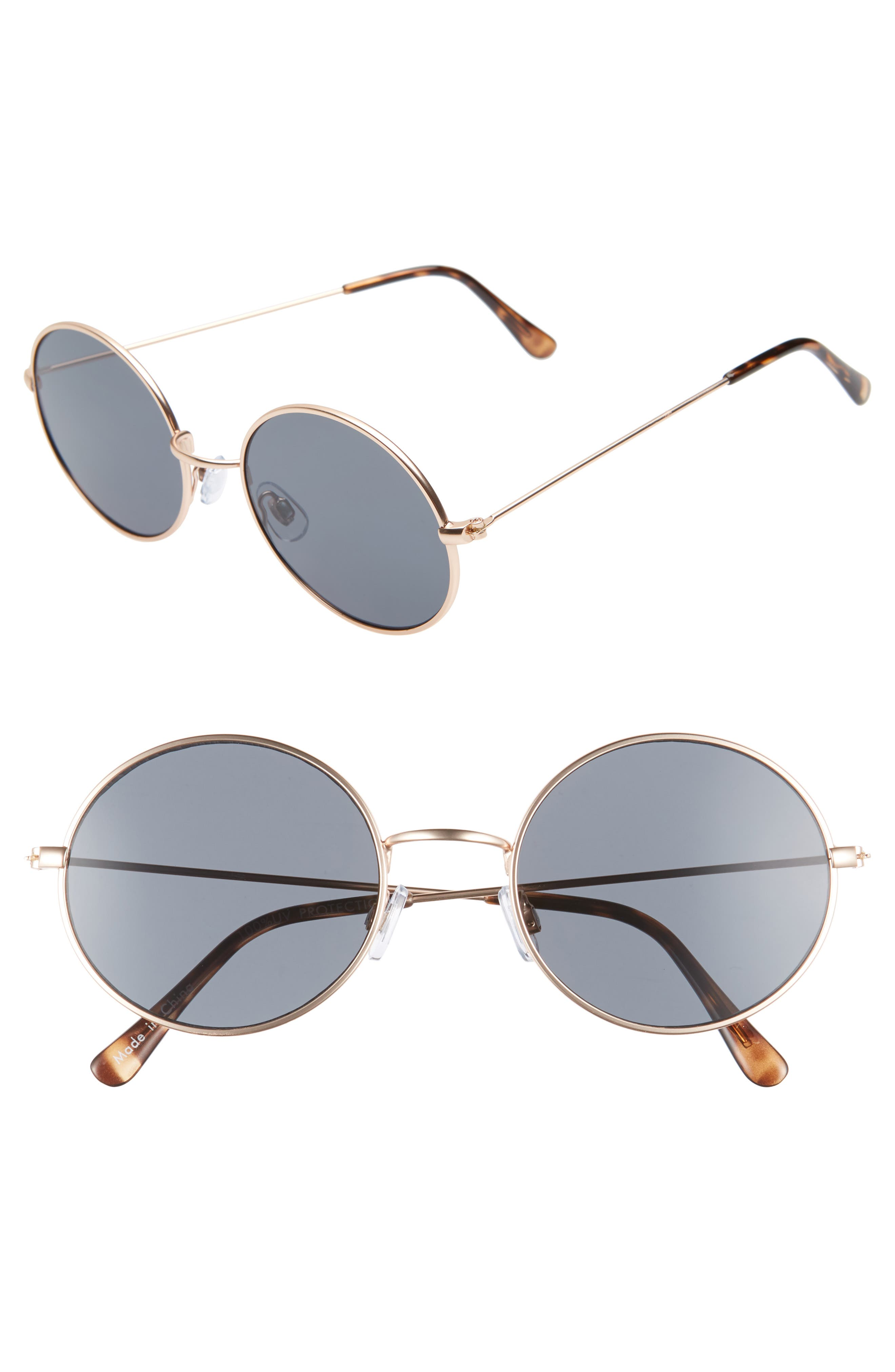53mm Flat Round Sunglasses,                         Main,                         color, GOLD/ BLACK