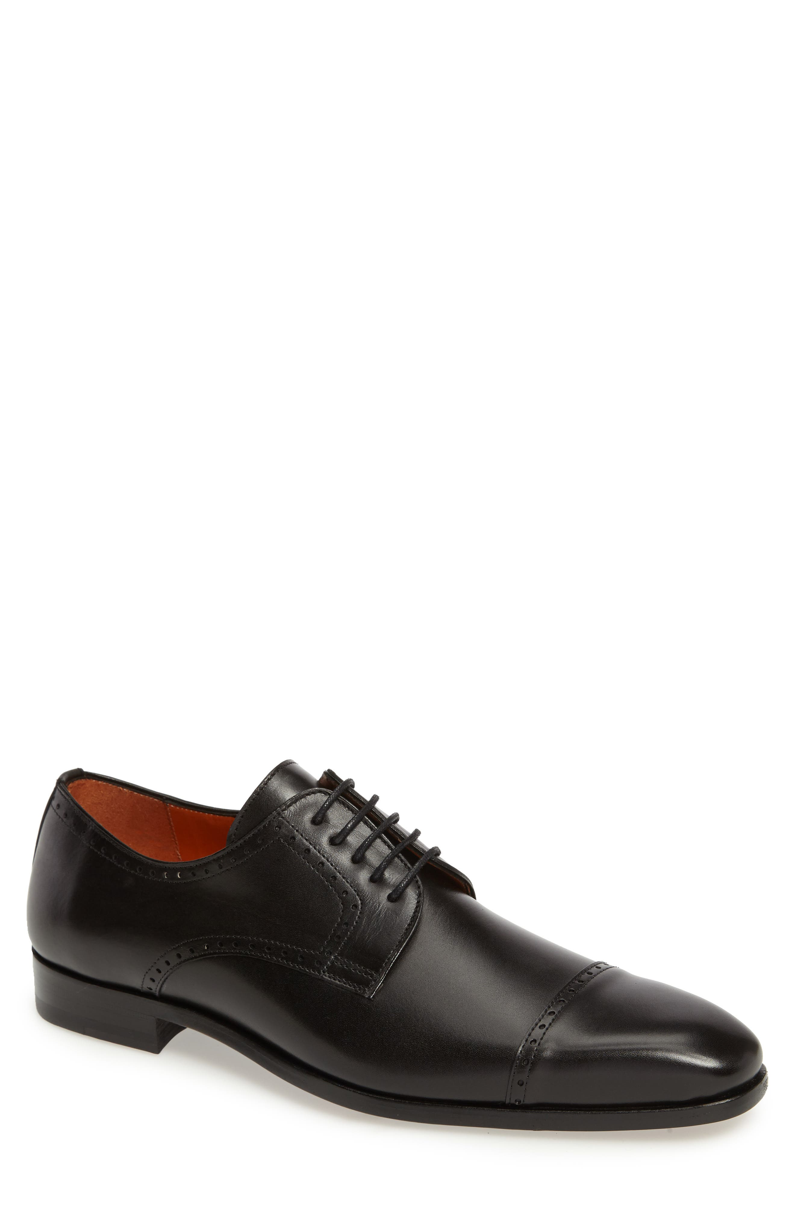 Boas Cap Toe Oxford,                             Main thumbnail 1, color,                             BLACK LEATHER