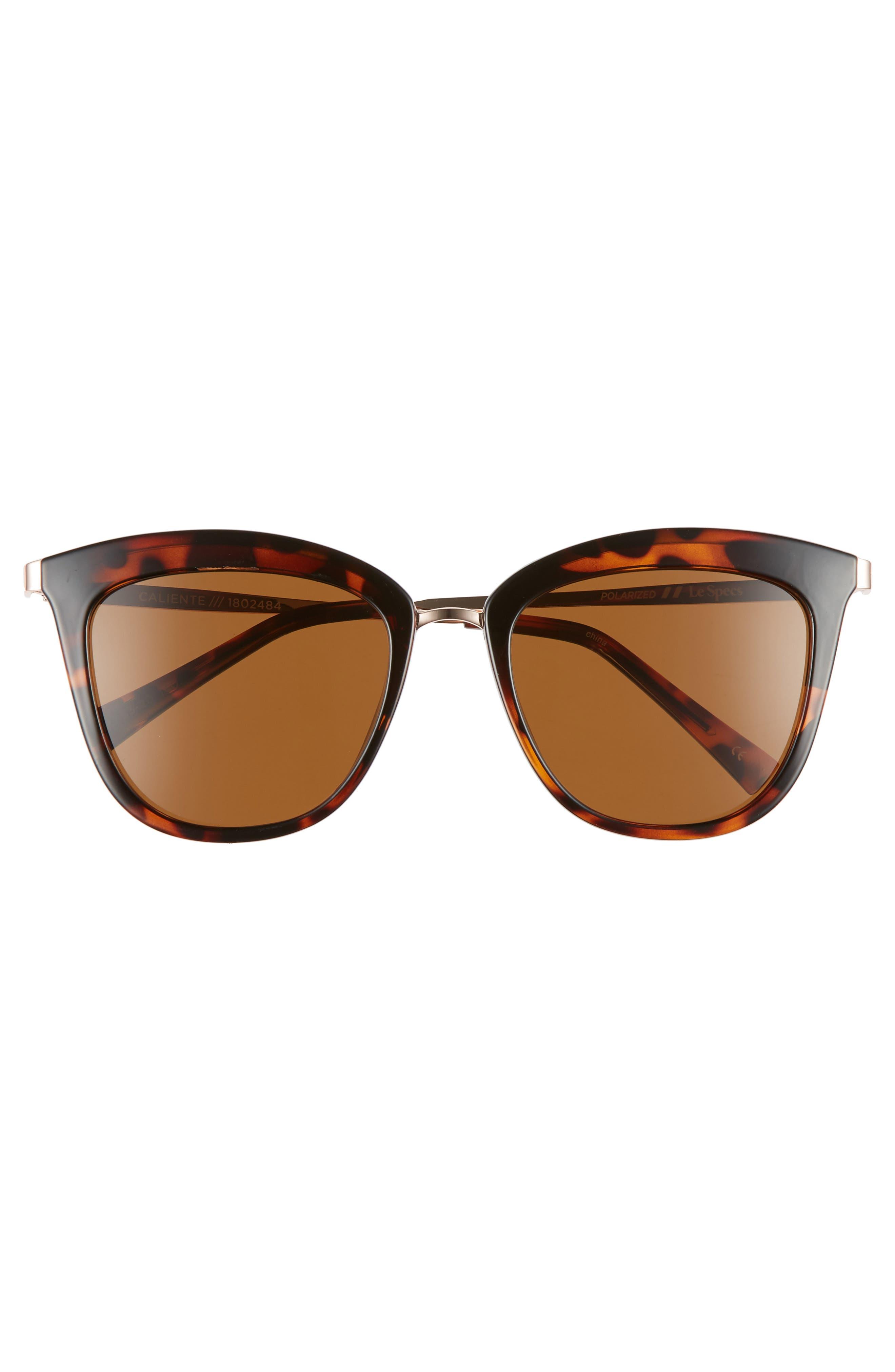 Caliente 53mm Polarized Cat Eye Sunglasses,                             Alternate thumbnail 3, color,                             TORTOISE / ROSE GOLD