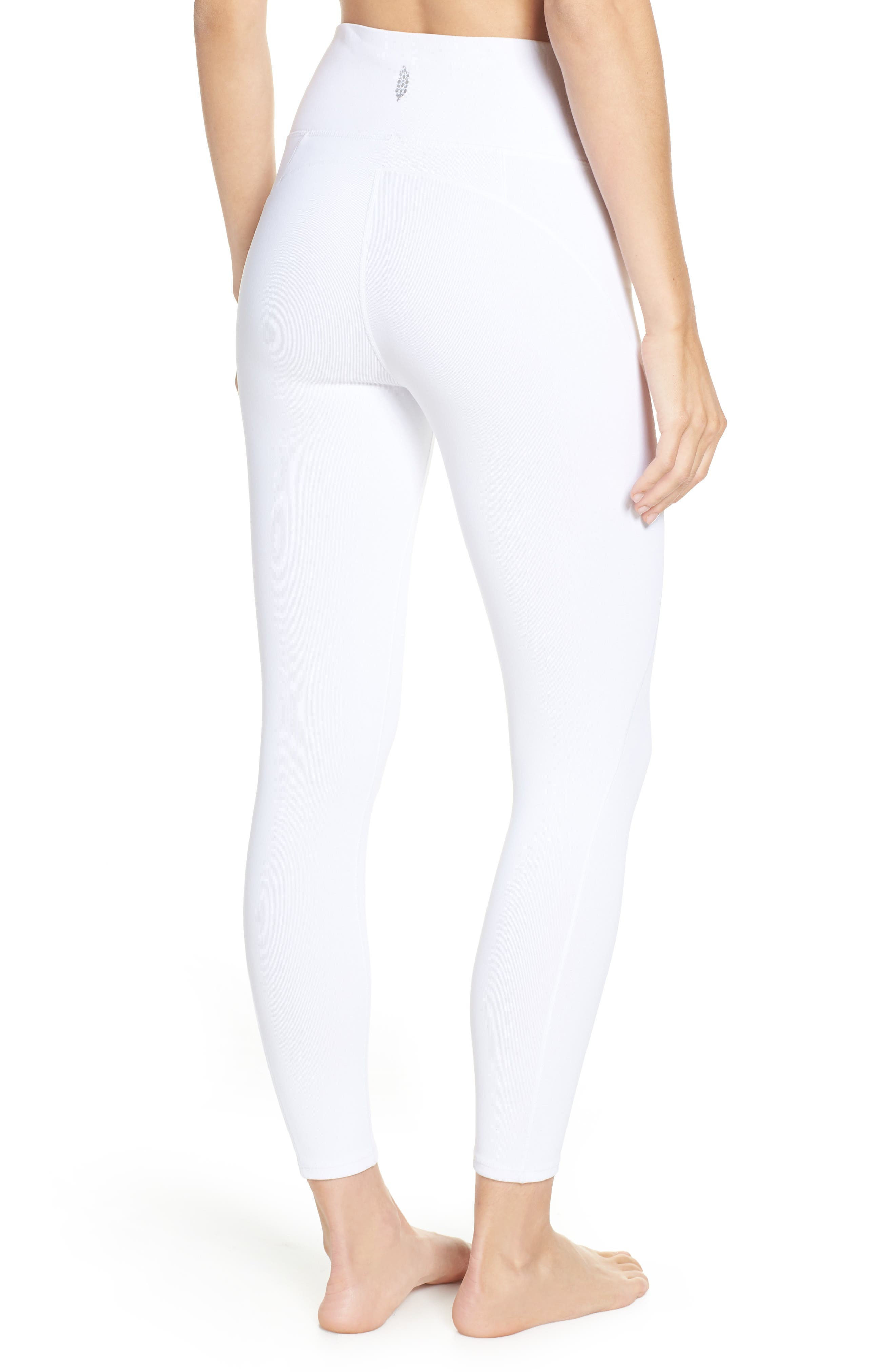 Free People FP Movement Formation High Waist Ankle Leggings,                             Alternate thumbnail 2, color,                             WHITE